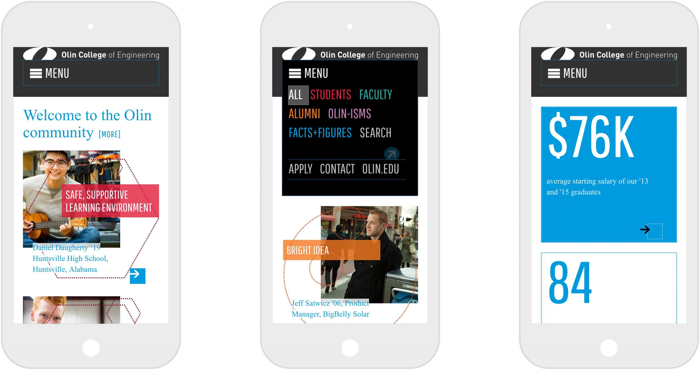 Three views of responsive Olin College of Engineering microsite on iPhone