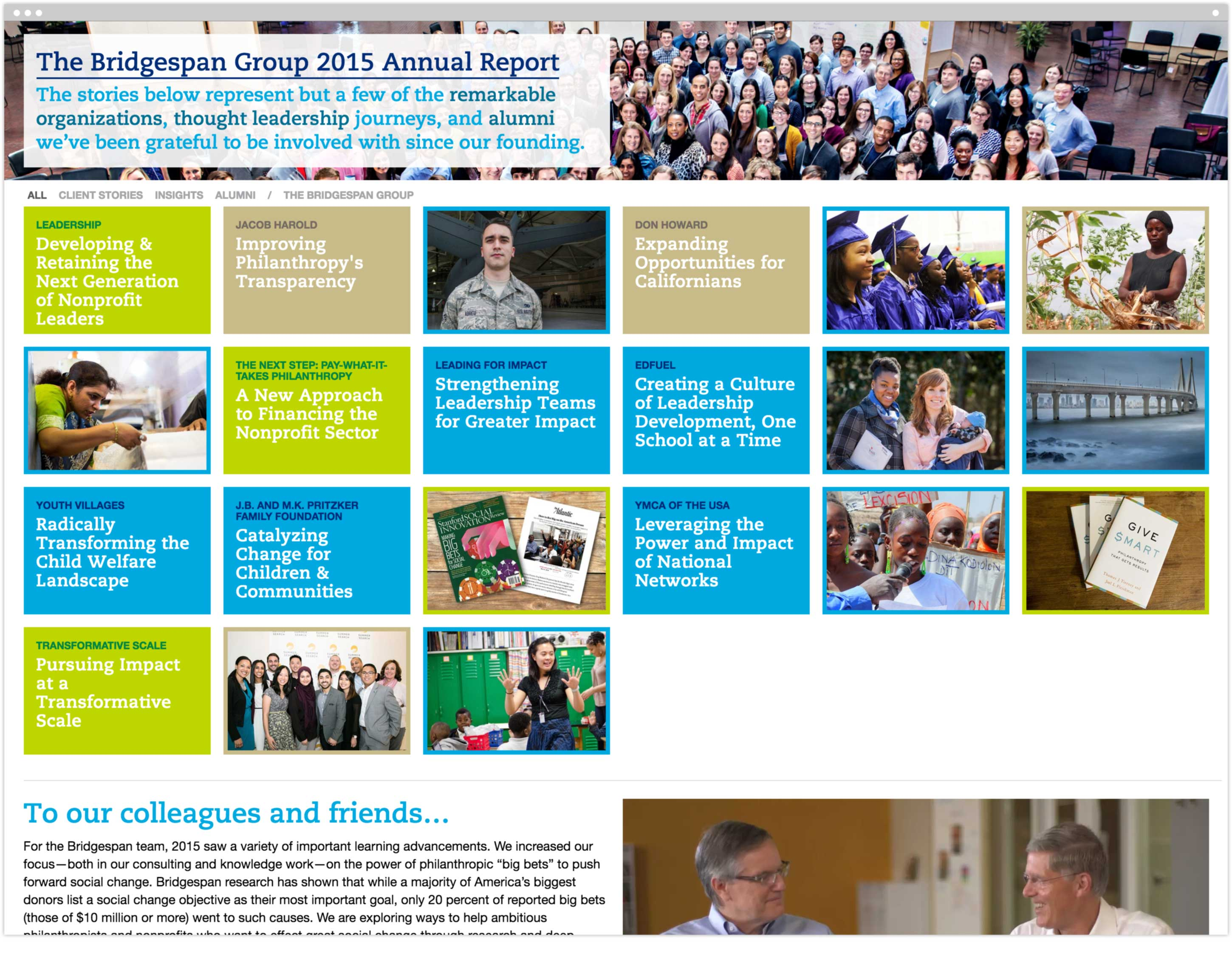 2016 Annual Report microsite homepage