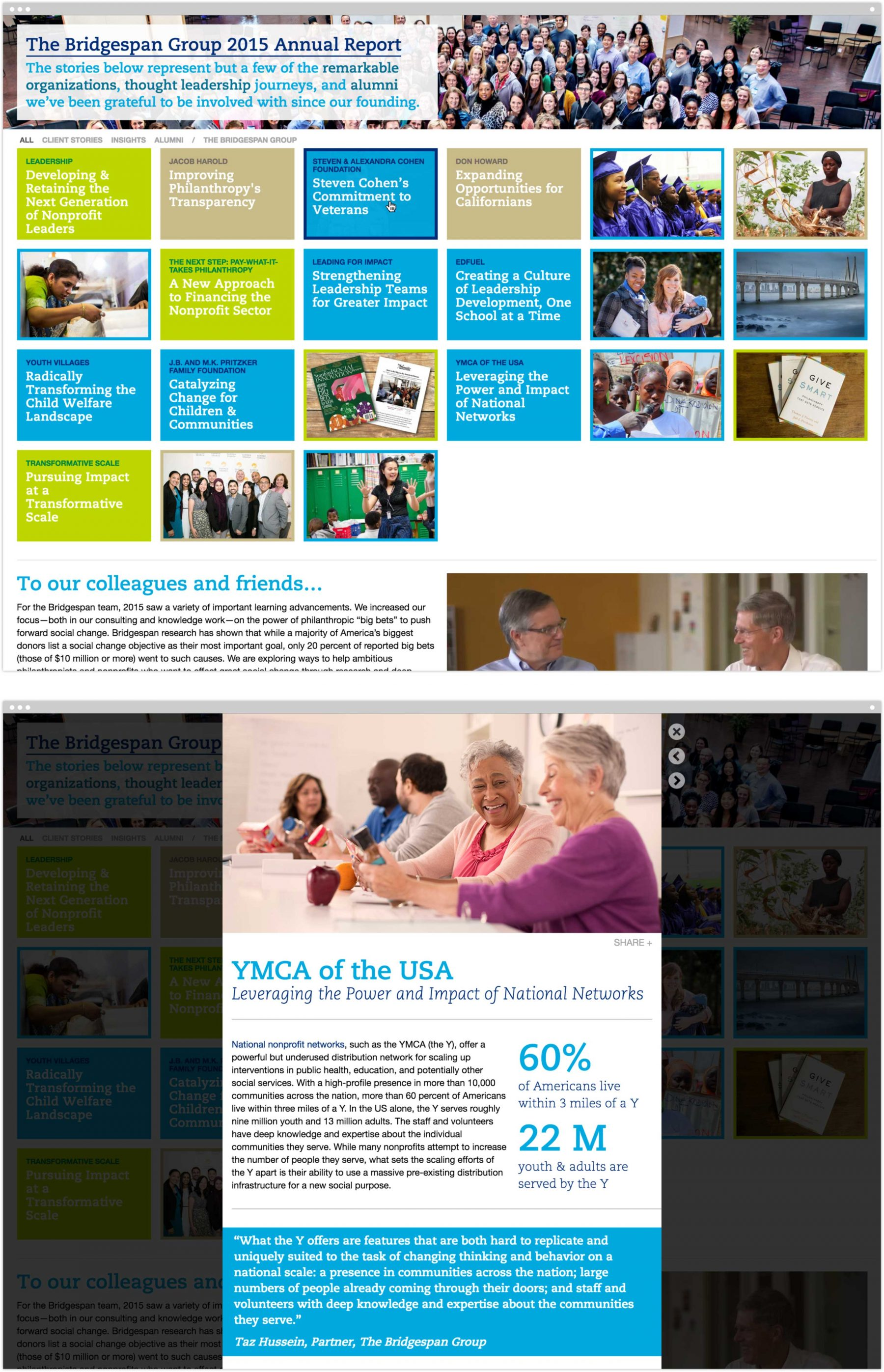 Bridgespan 2015 Annual Report homepage and lightbox