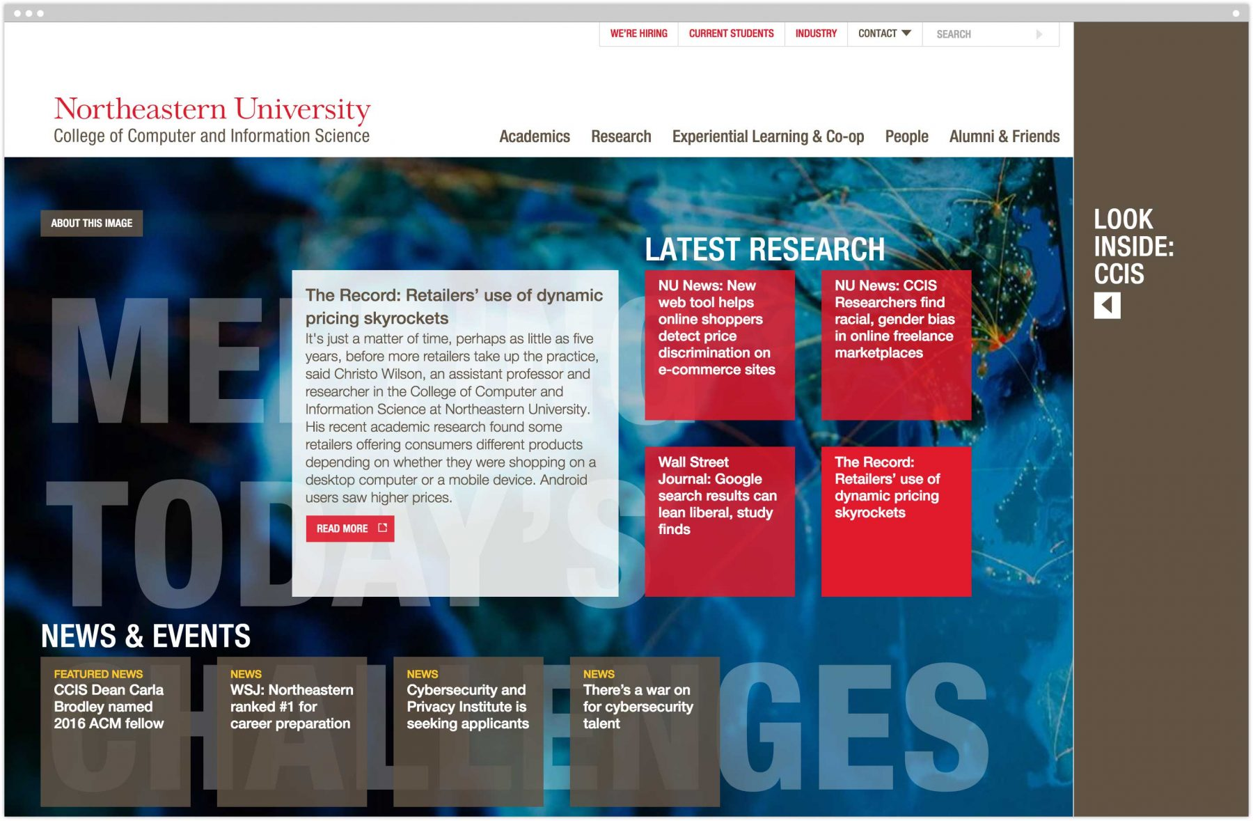 CCIS homepage with news item exposed