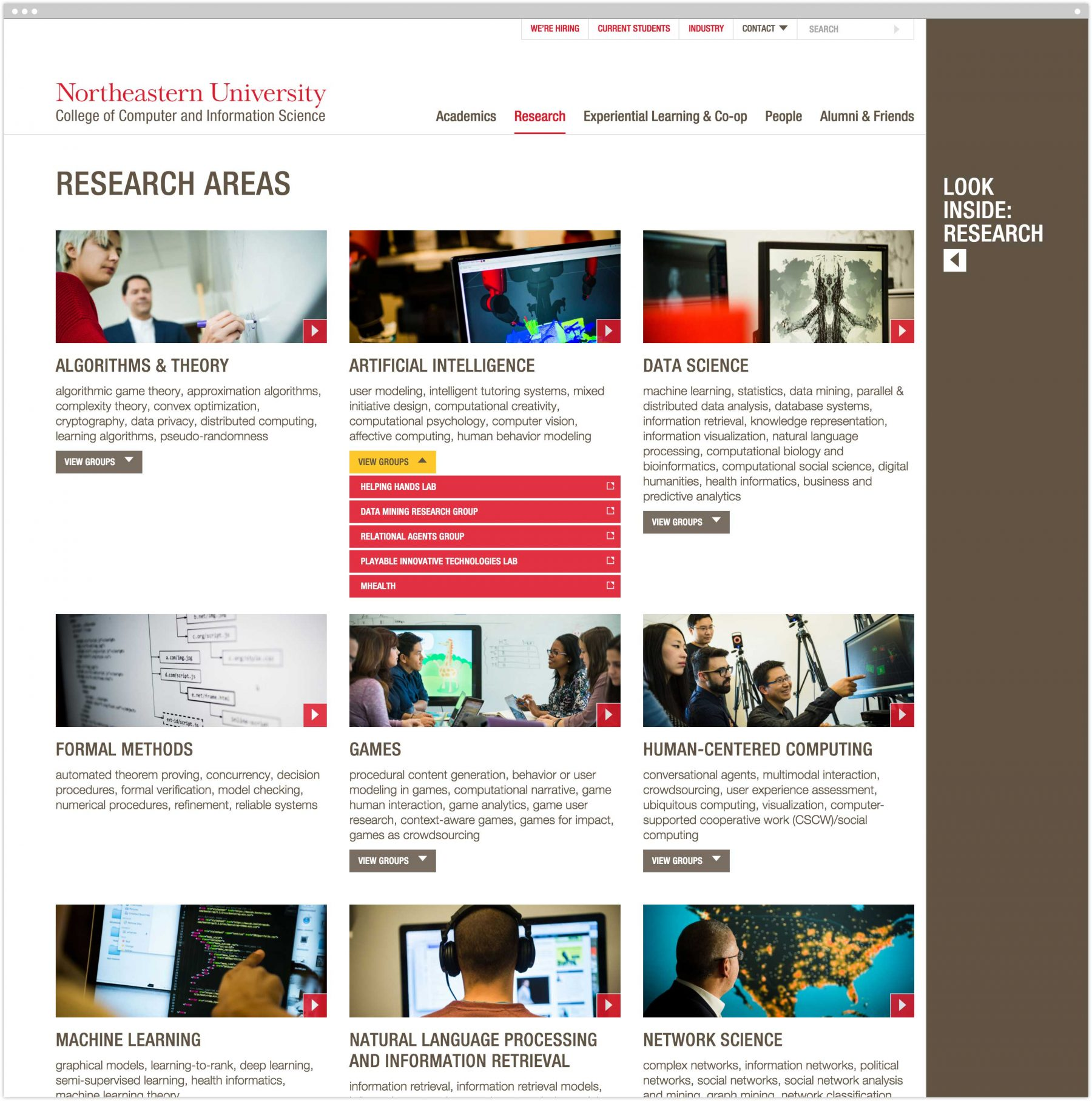 Research areas interior page on website