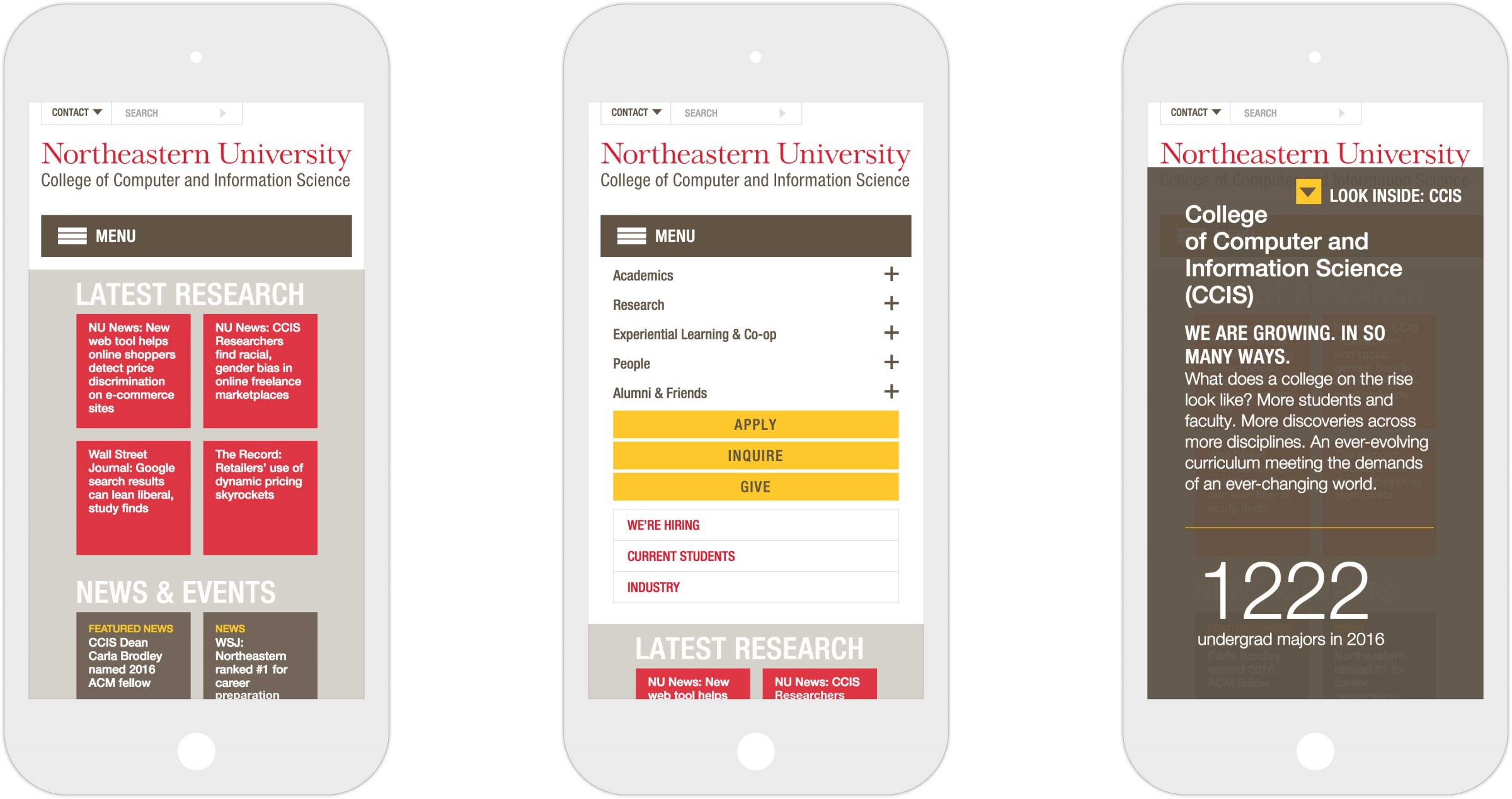 Three views of CCIS responsive website on iPhone