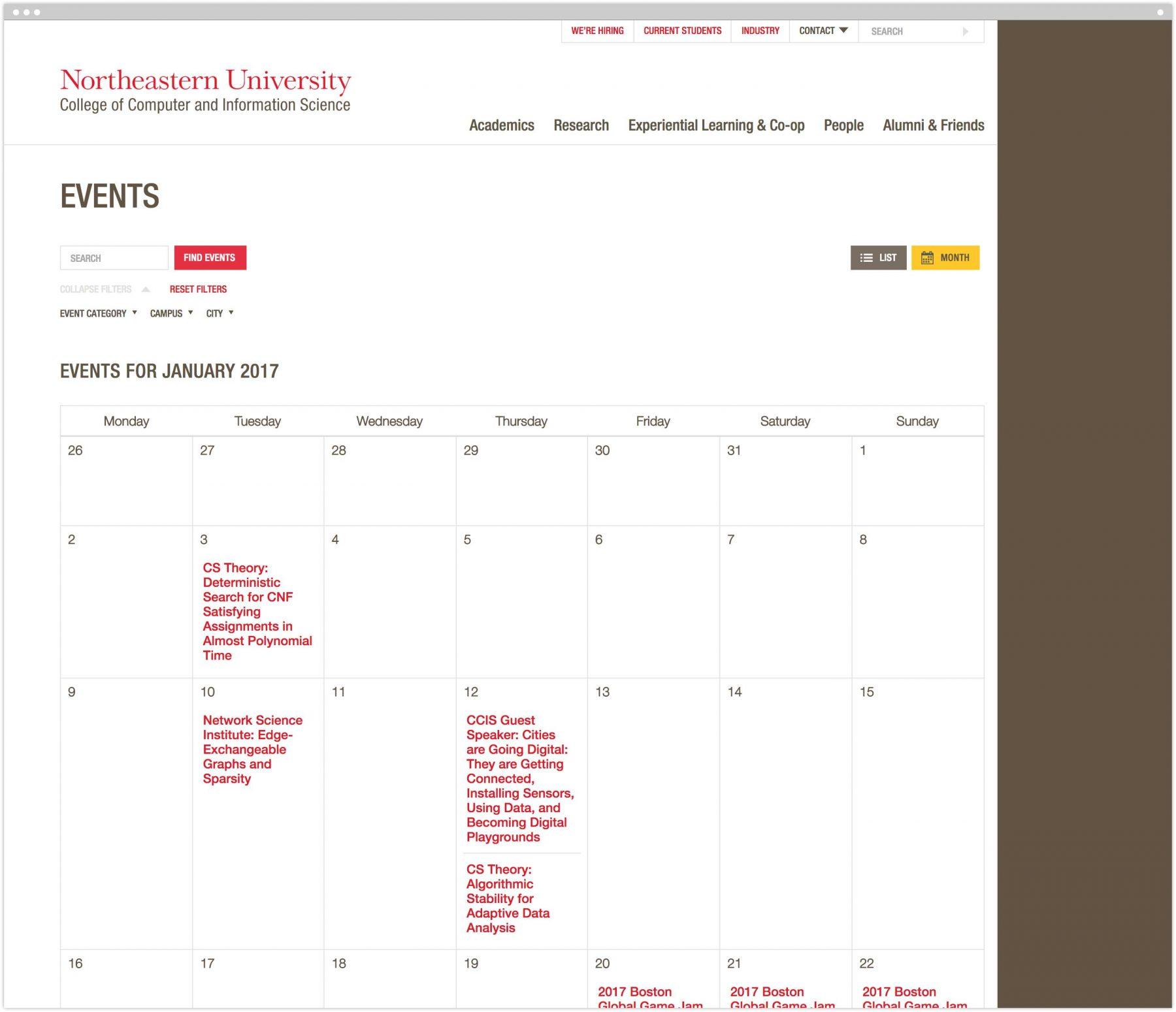 CCIS calendar interior page