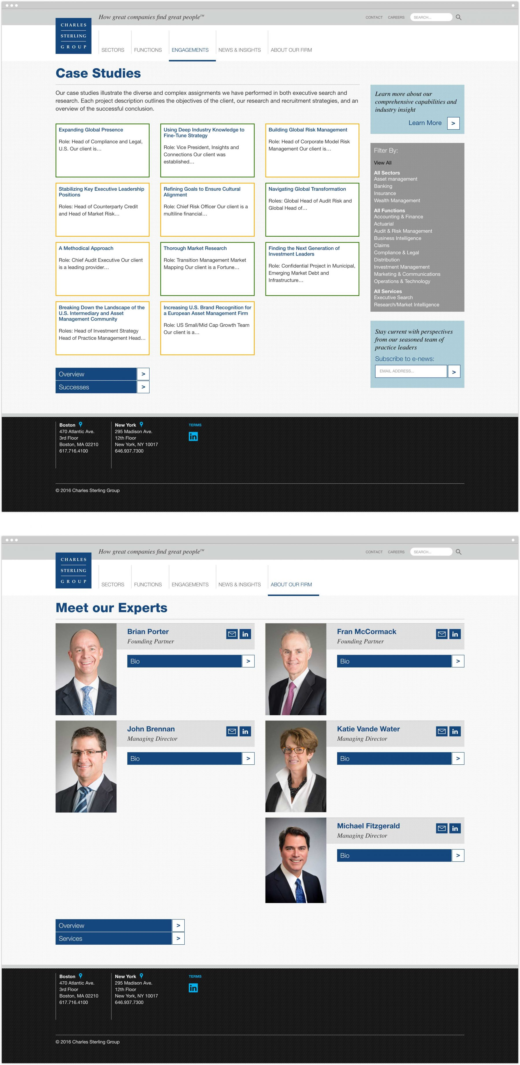 Case Studies and Meet Our Experts interior pages