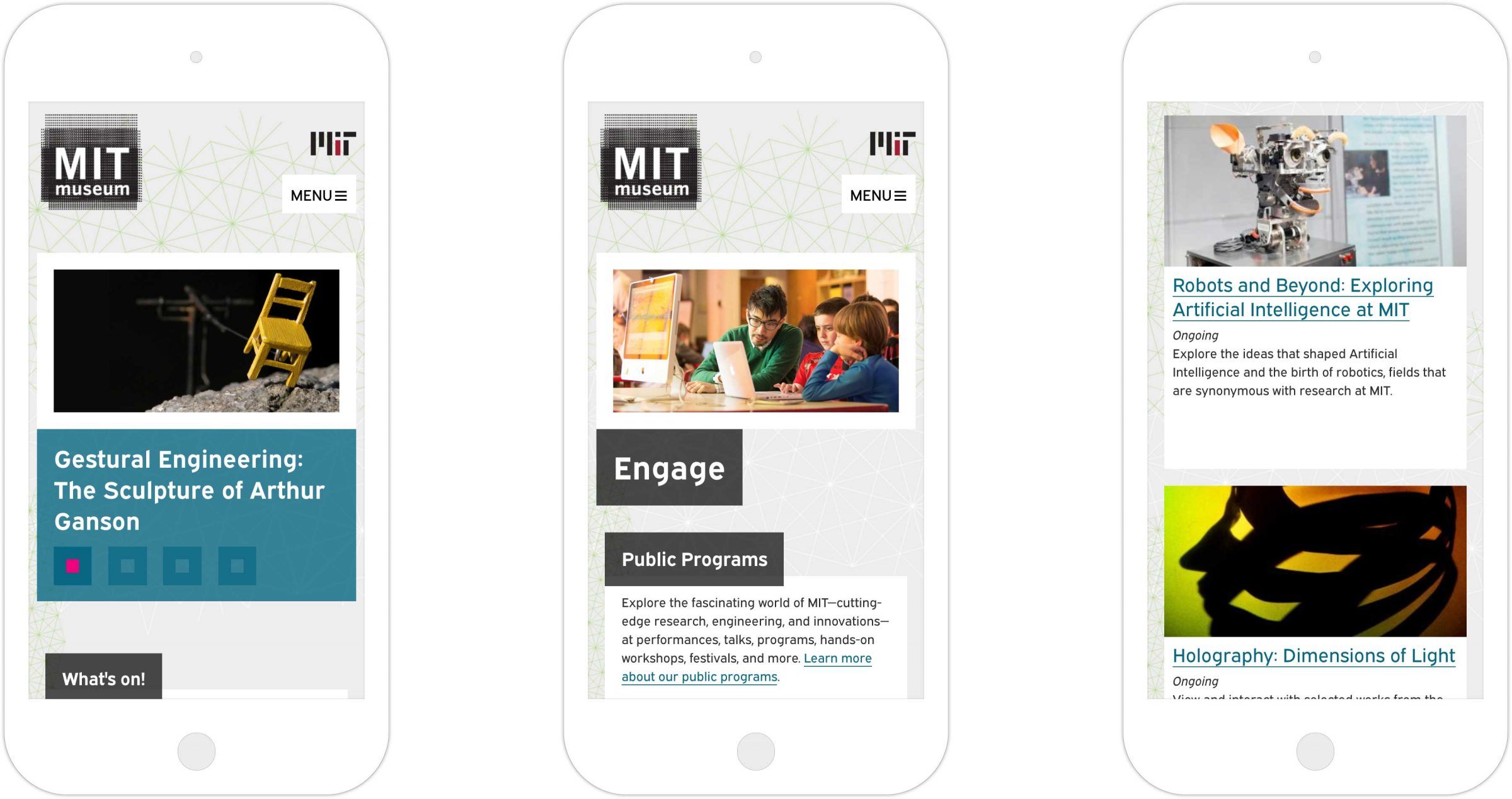 Three views of MIT Museum responsive website on iPhone