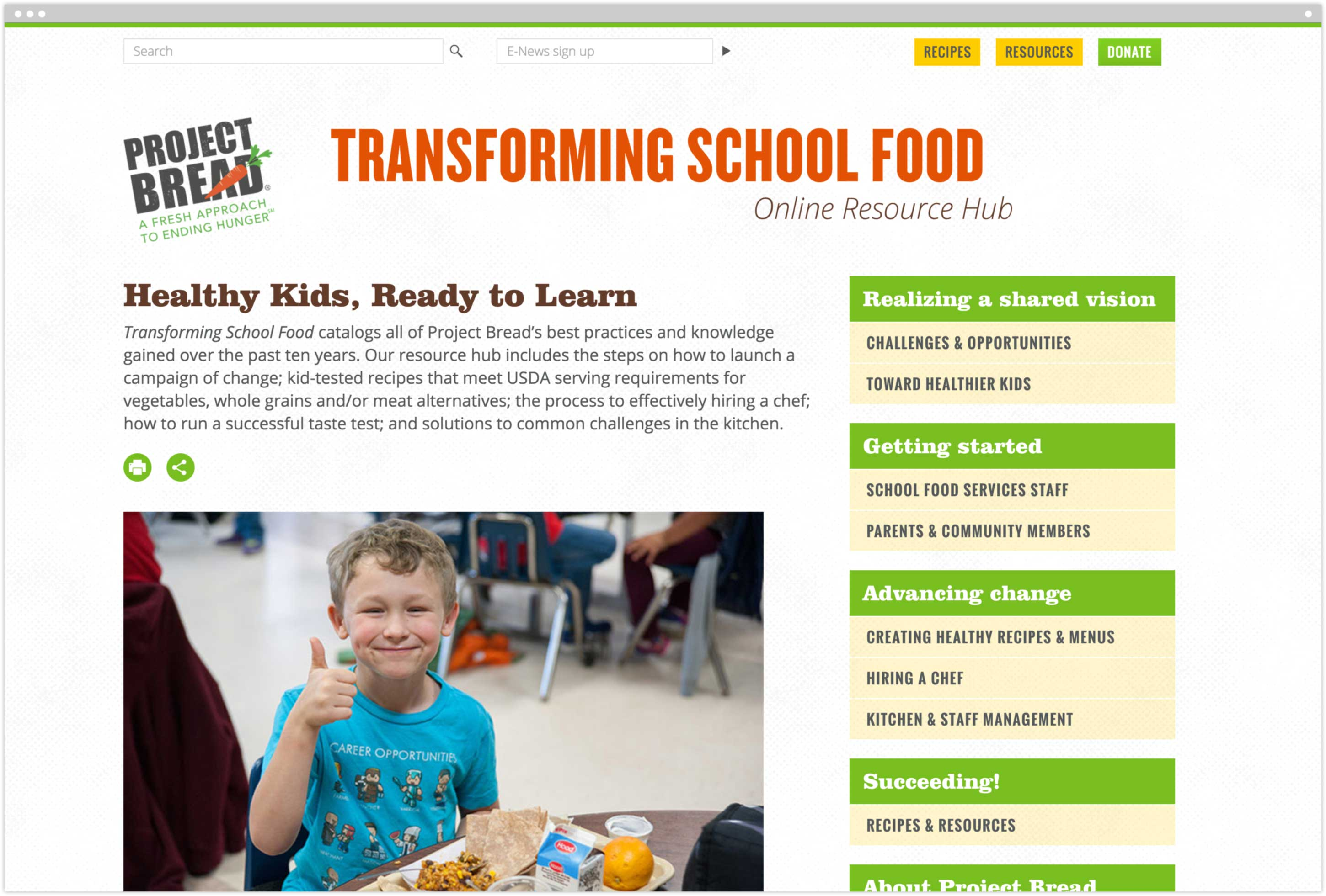 Transforming School Food Online Resource Hub homepage