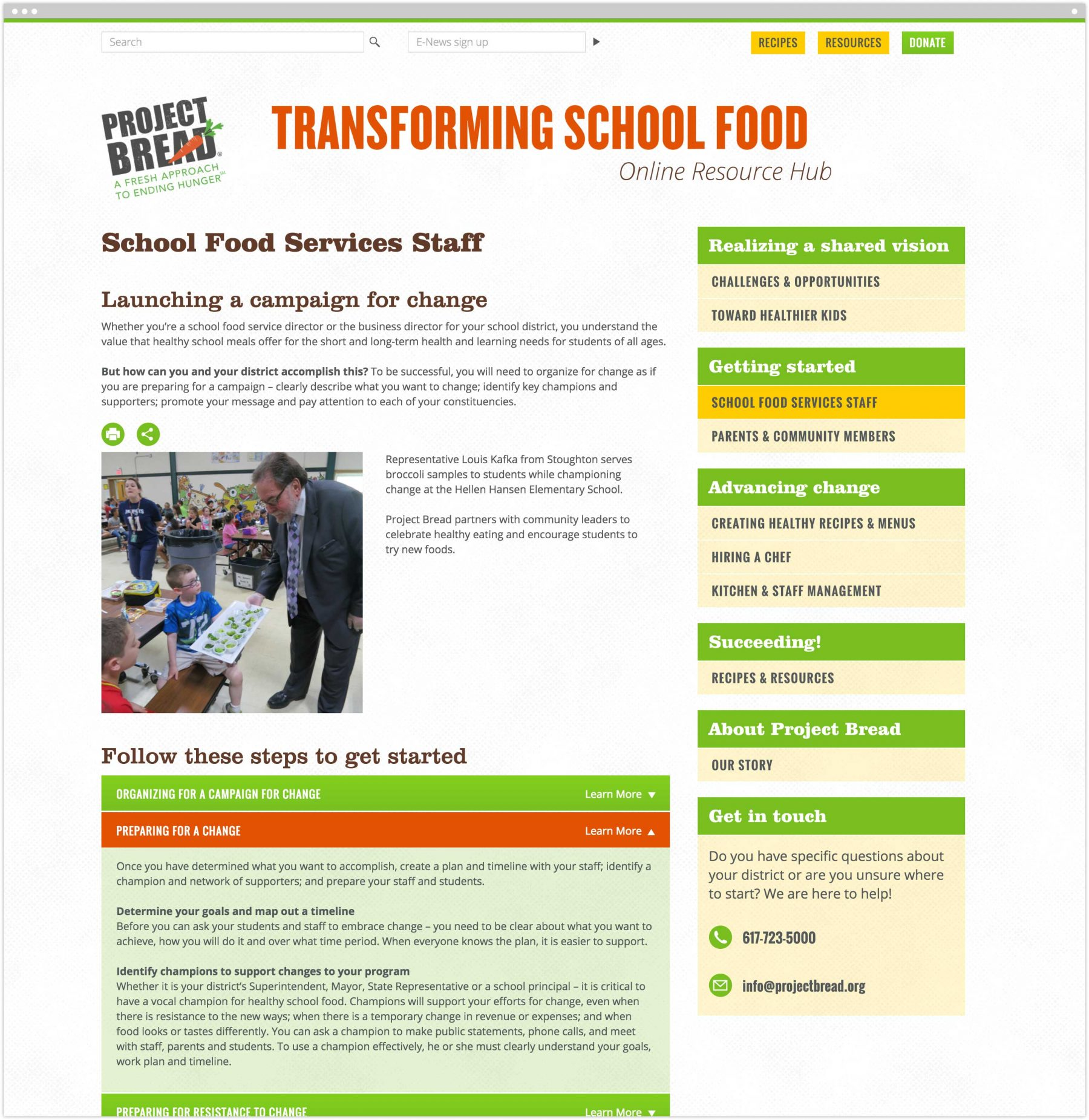 School Food Services Staff interior page