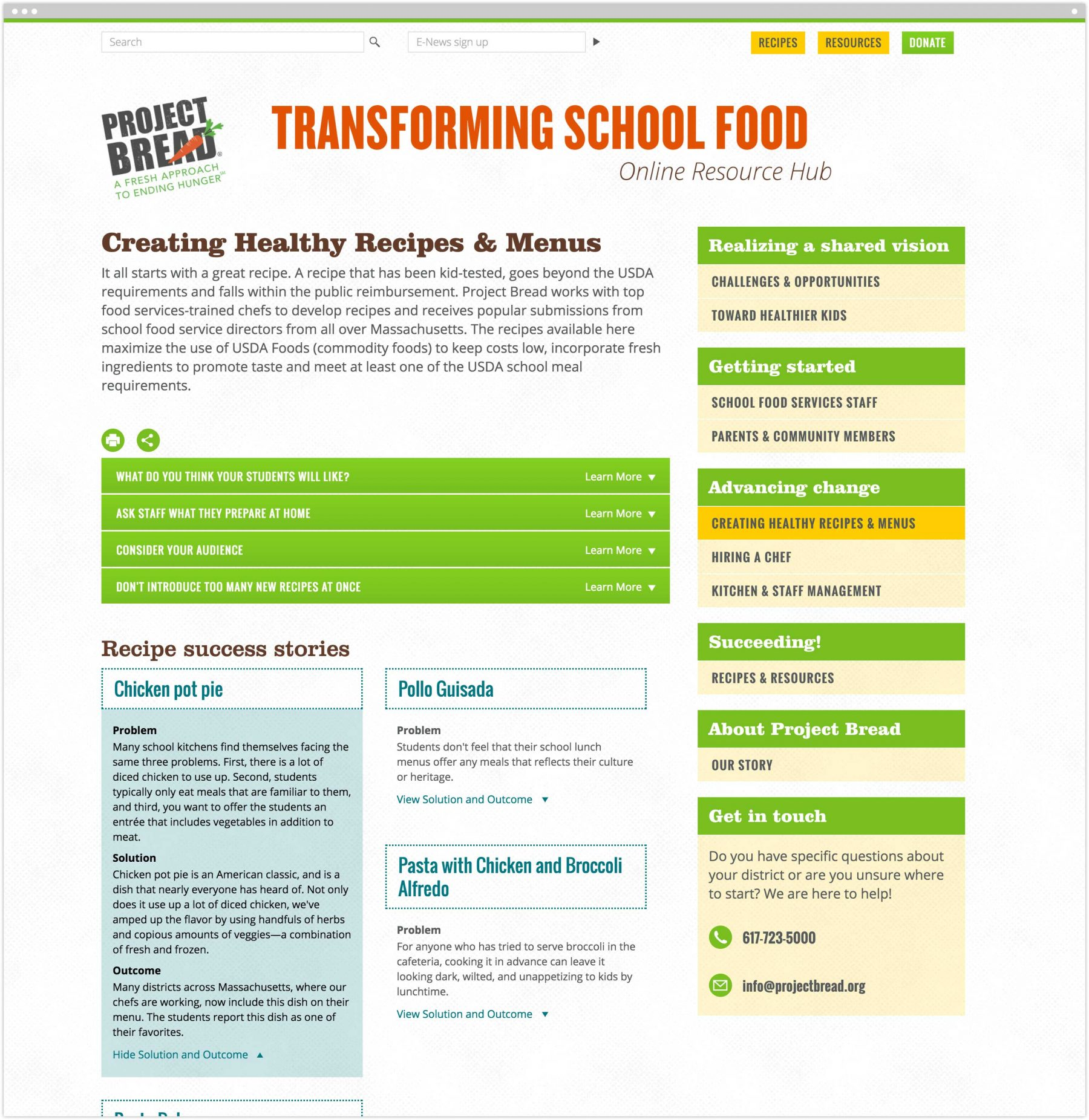Creating Healthy Recipes & Menus interior page