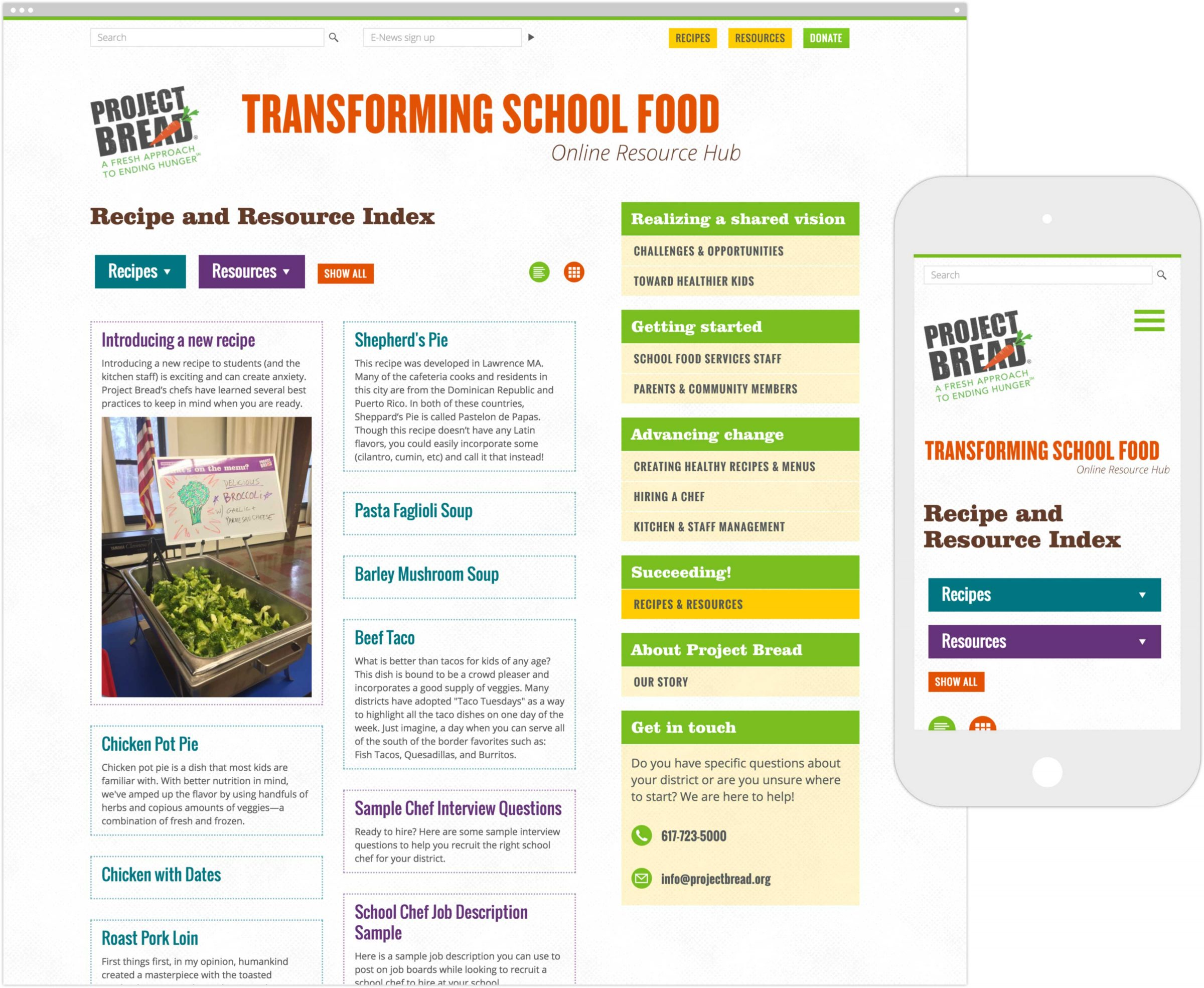 Transforming School Food Online Resource Hub on desktop and mobile device