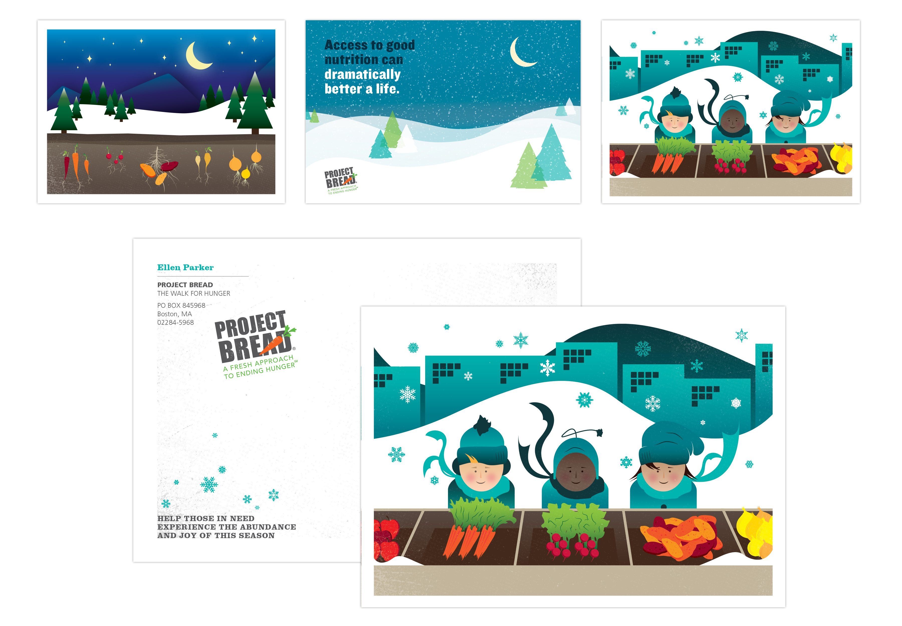 Project Bread holiday cards: Graphics of snowy fields with trees, kids in winter clothes, vegetables