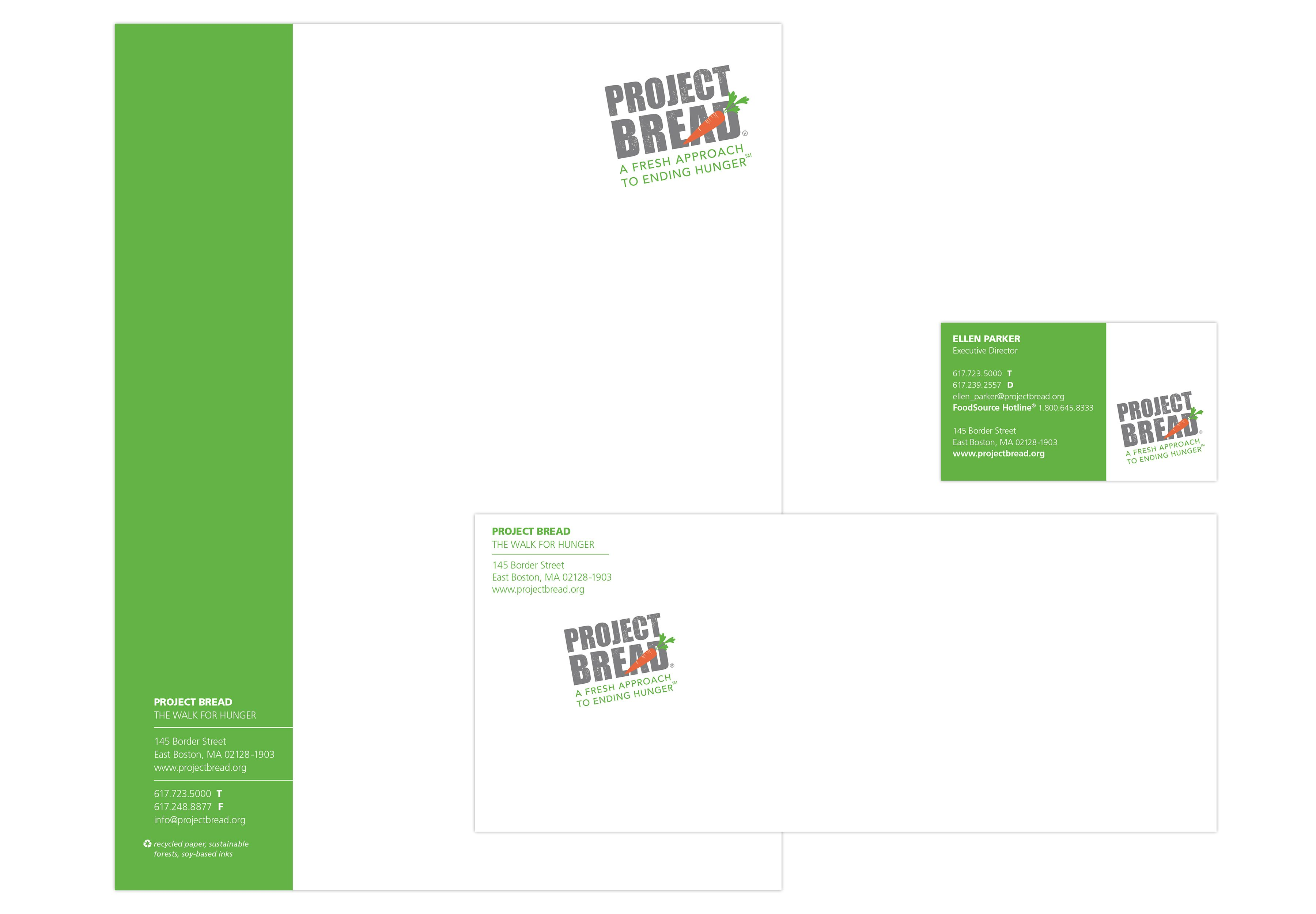 Project Bread stationary: letterhead, envelope, business card