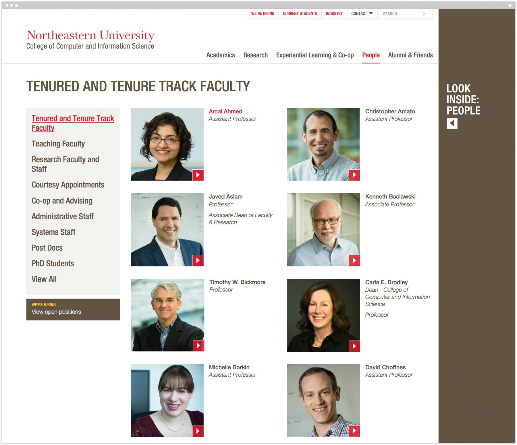 Tenured and Tenure Track Faculty interior page