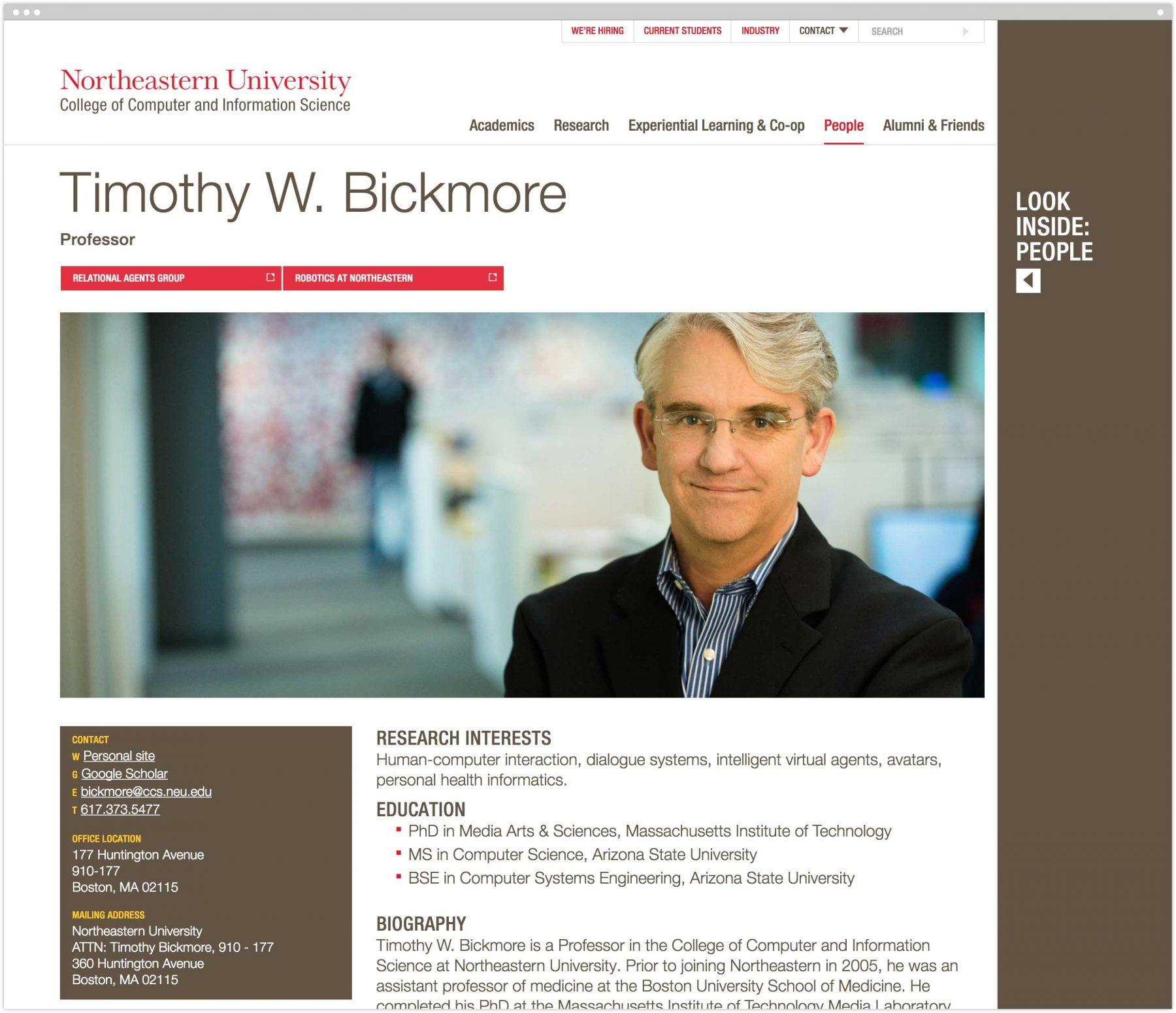 Faculty bio interior page