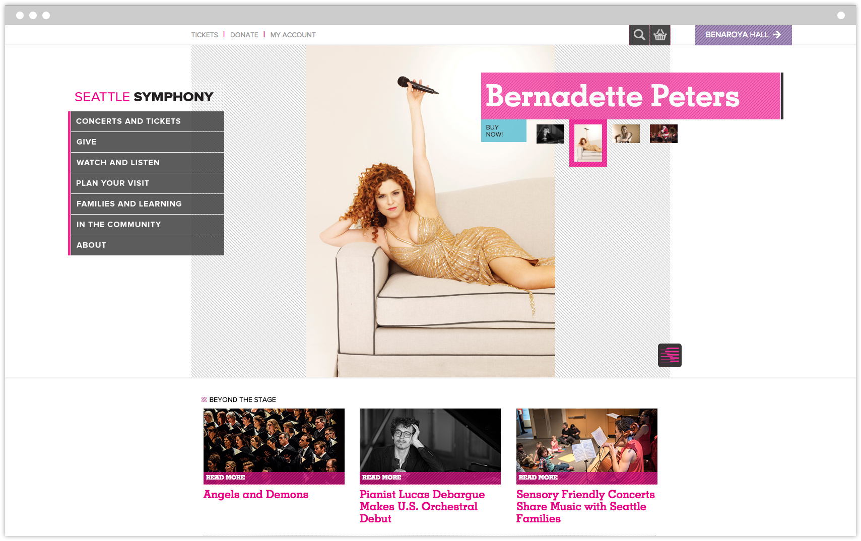 Seattle Symphony Orchestra homepage featuring Bernadette Peters