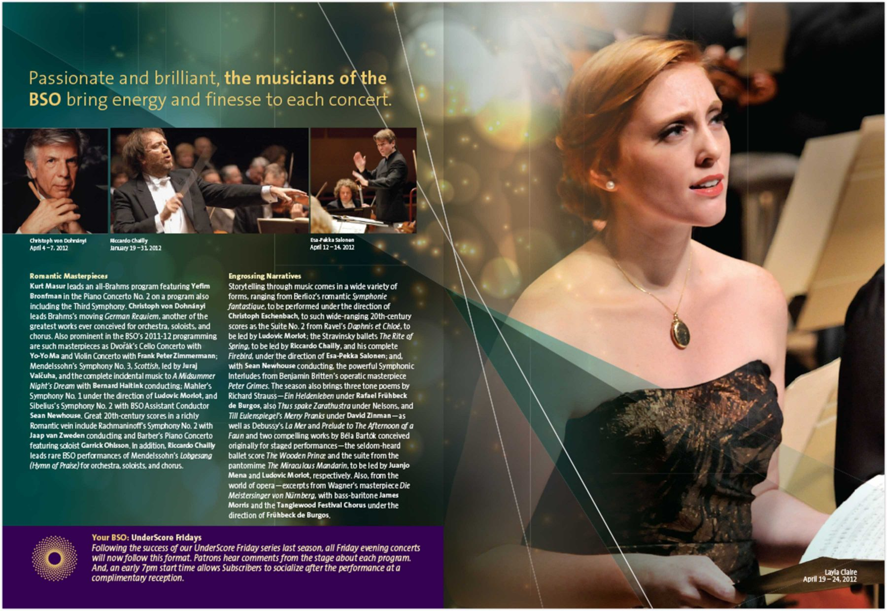 Brochure page: Passionate and brilliant, the musicians of the BSO bring energy and finesse to each concert