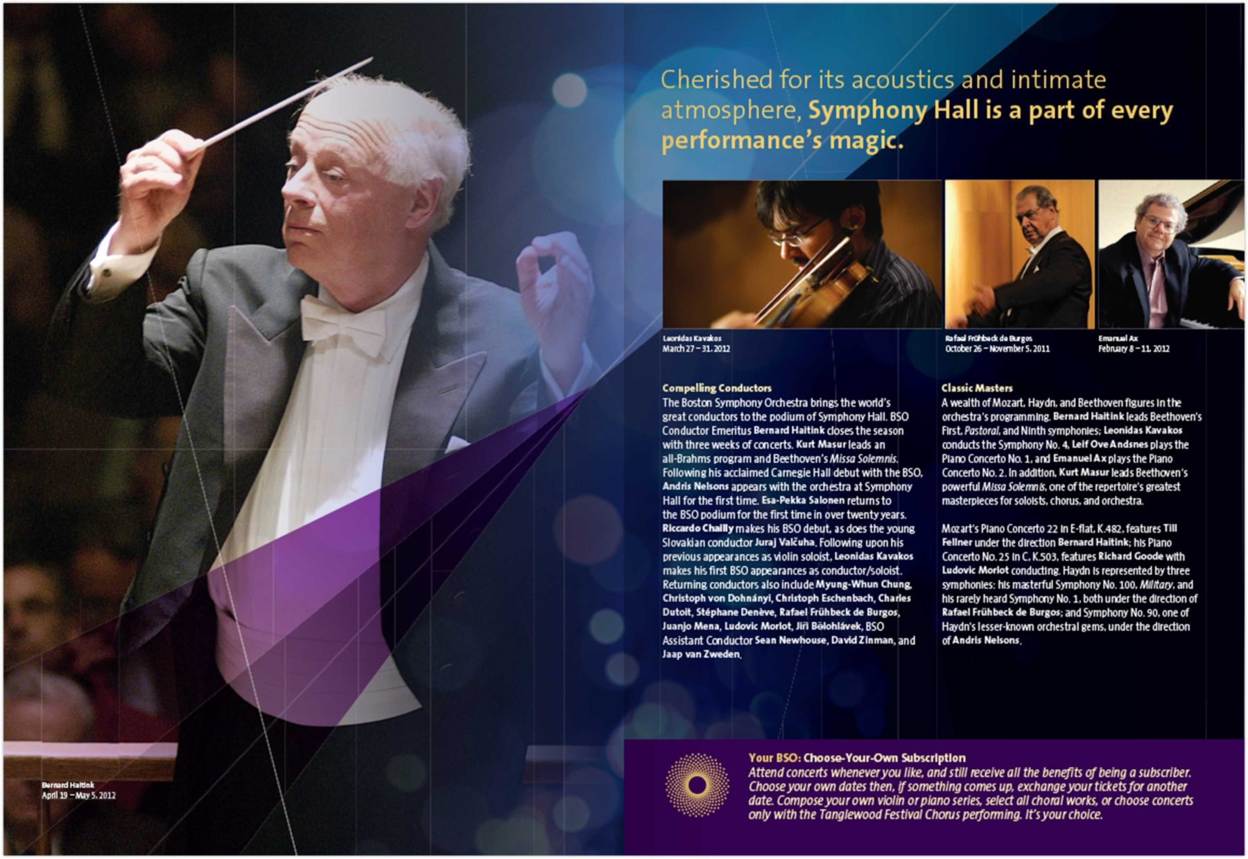 Brochure page: Cherished for its acoustics and intimate atmosphere, Symphony Hall is a part of every performance's magic