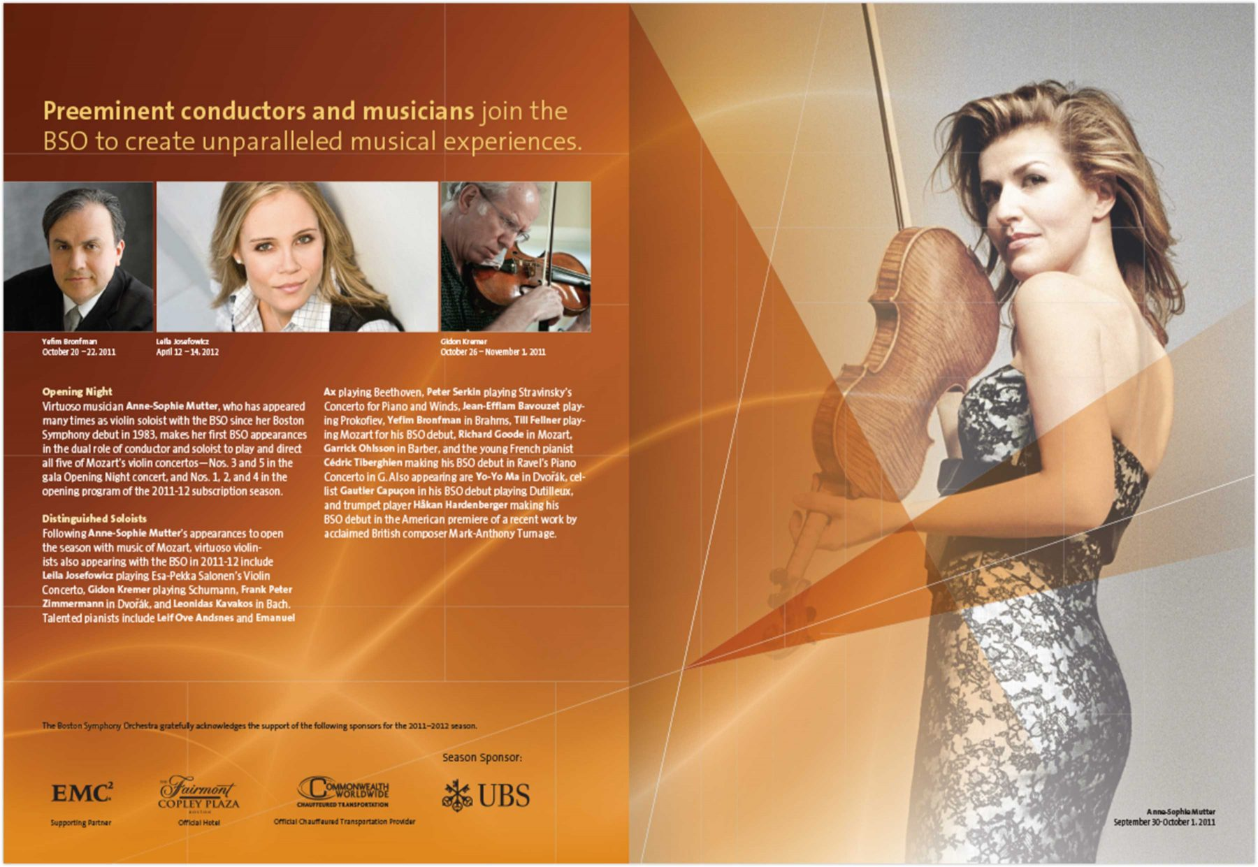 Brochure page: Preeminent conductors and musicians join the BSO to create unparalleled musical experiences