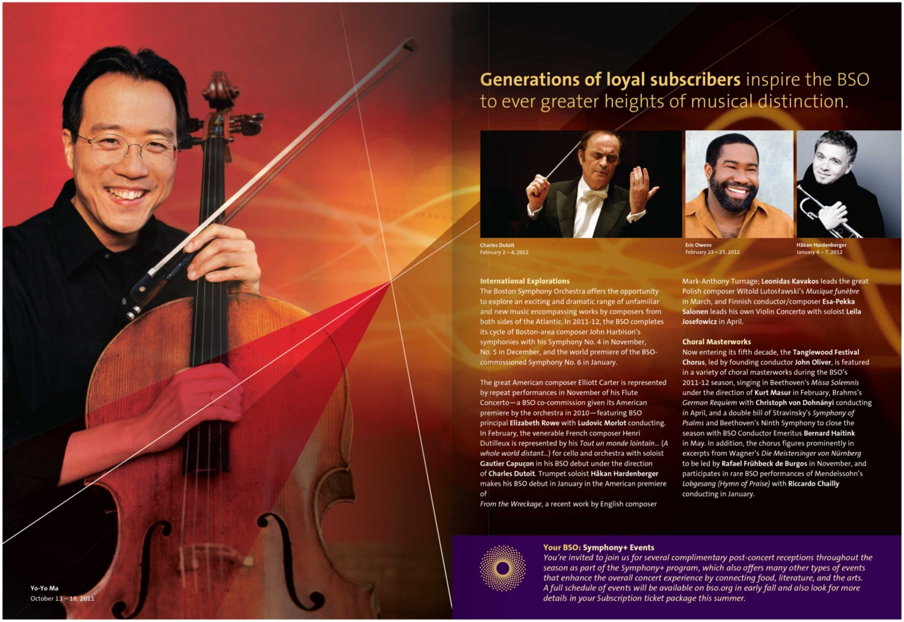 Brochure page: Generations of loyal subscribers inspire the BSO to ever greater heights of musical distinction