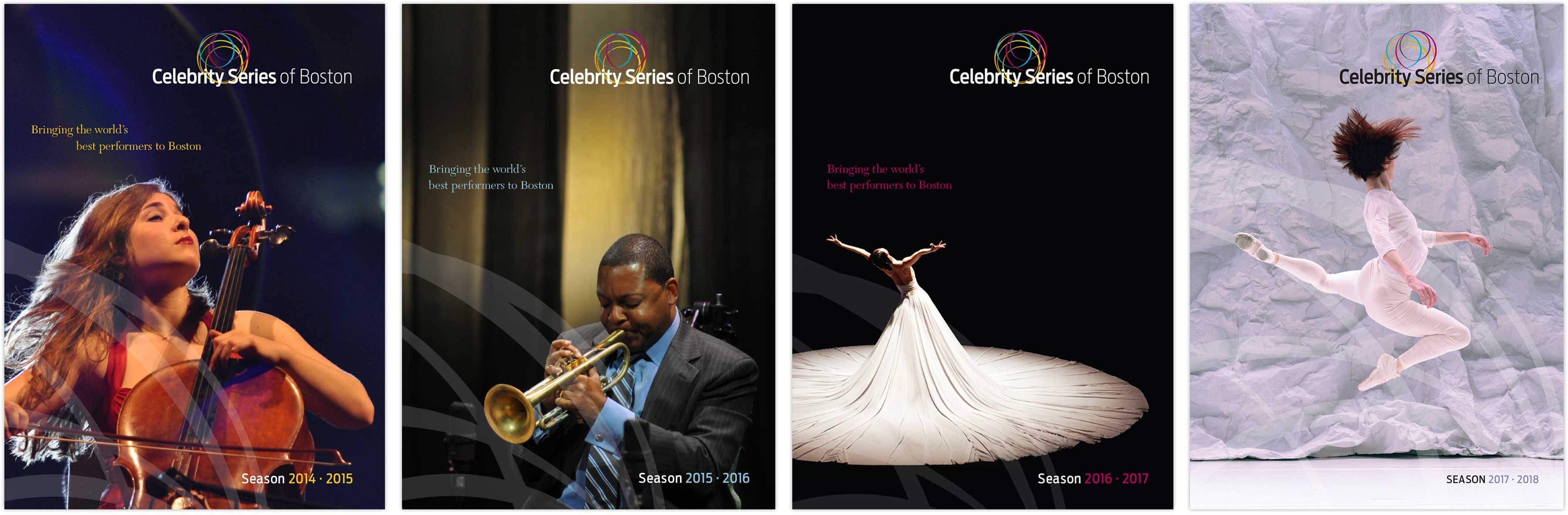 Celebrity Series Boston season brochure covers
