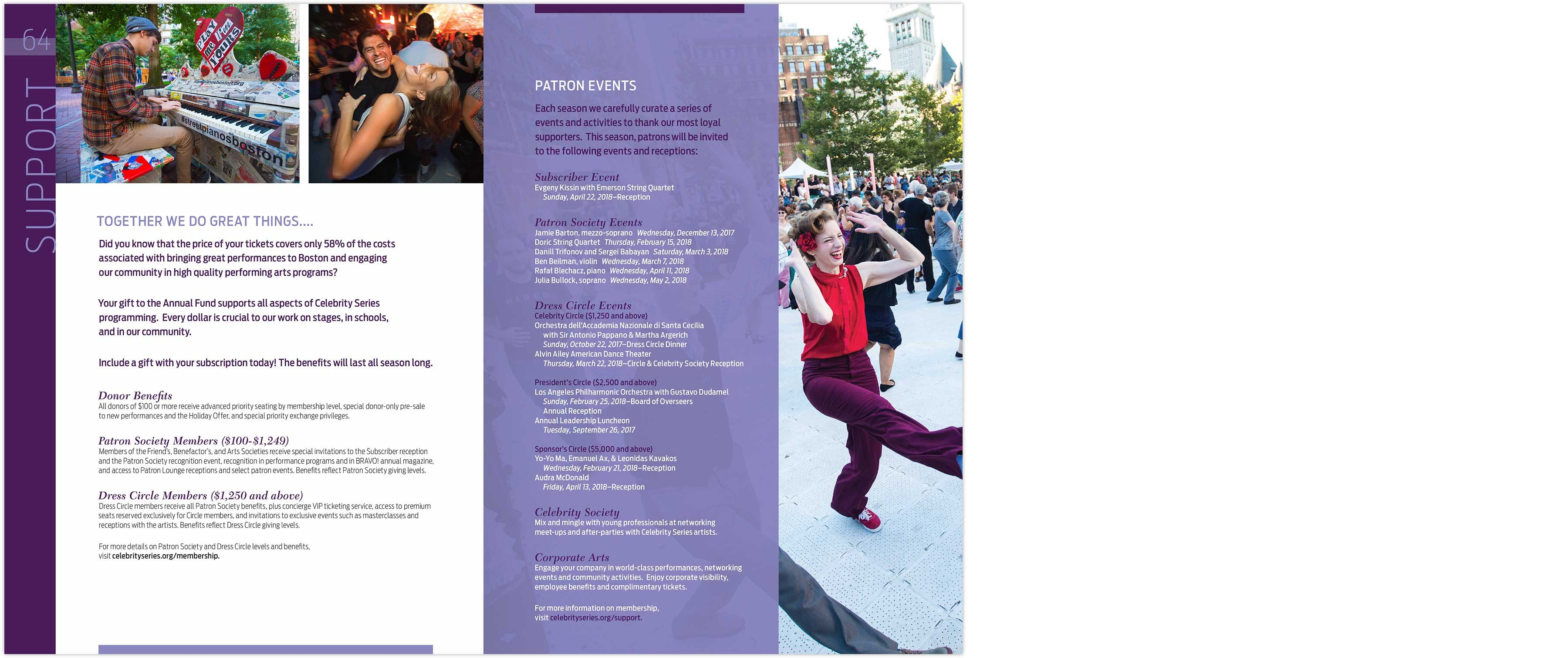 Celebrity Series Boston season brochure interior spread: support and patron events