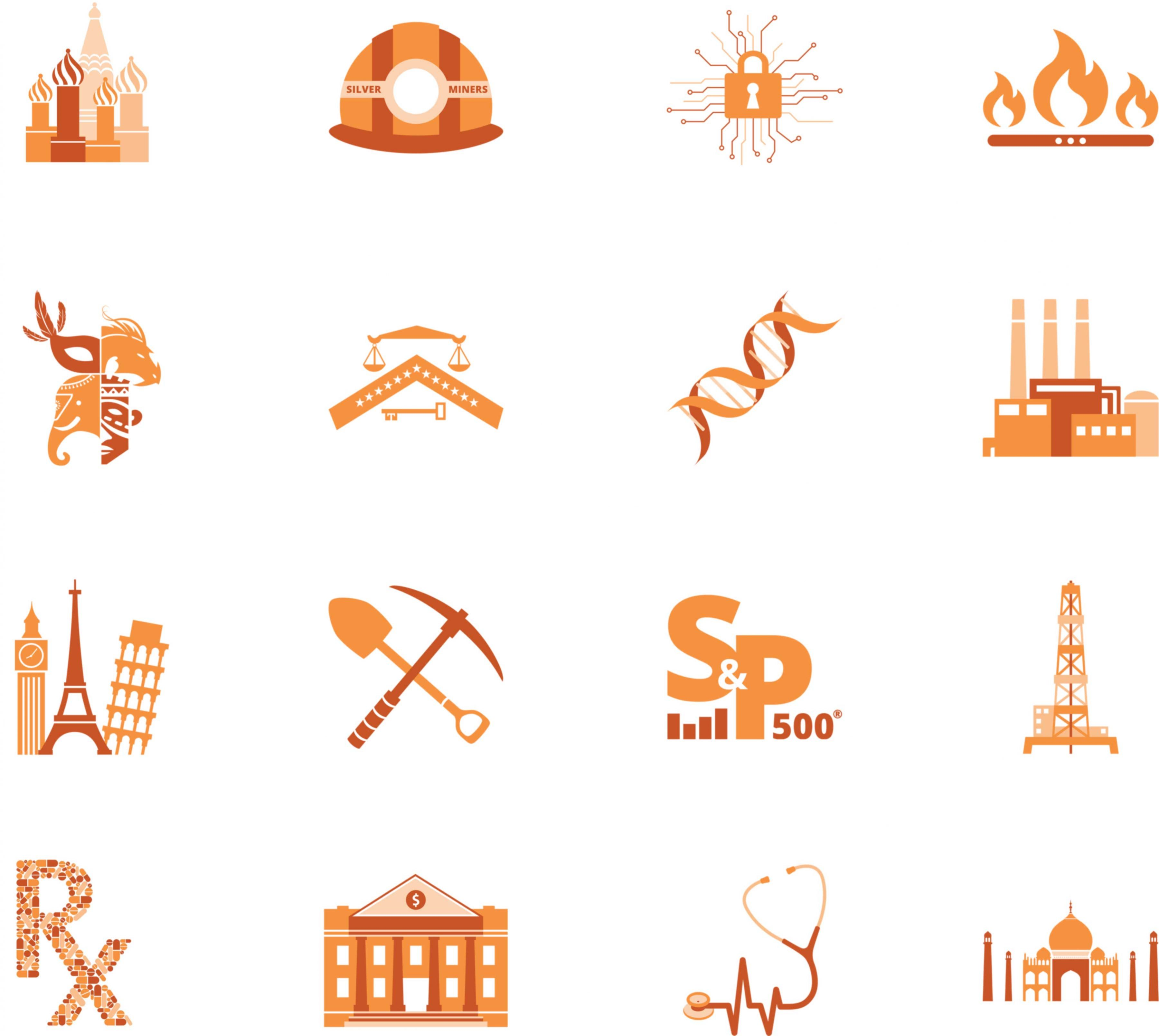 Direxion ETF Campaign logos: Russian architecture, silver miner helmet, lock, flames collage of a mask, a dragon, and elephant, and another mask, scales and a key, DNA, factories, European landmarks, pick axe and shovel, S&P, oil, medication, bank, stethoscope, Taj Mahal