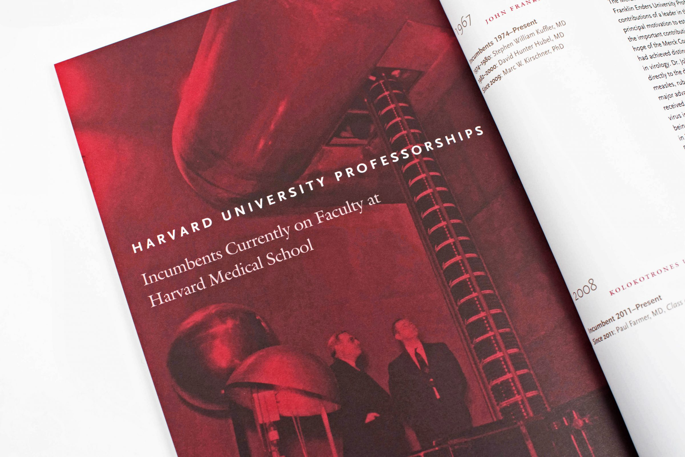 Harvard Medical Quadrangle Professorships brochure interior: Incumbents currently on faculty at Harvard Medical School