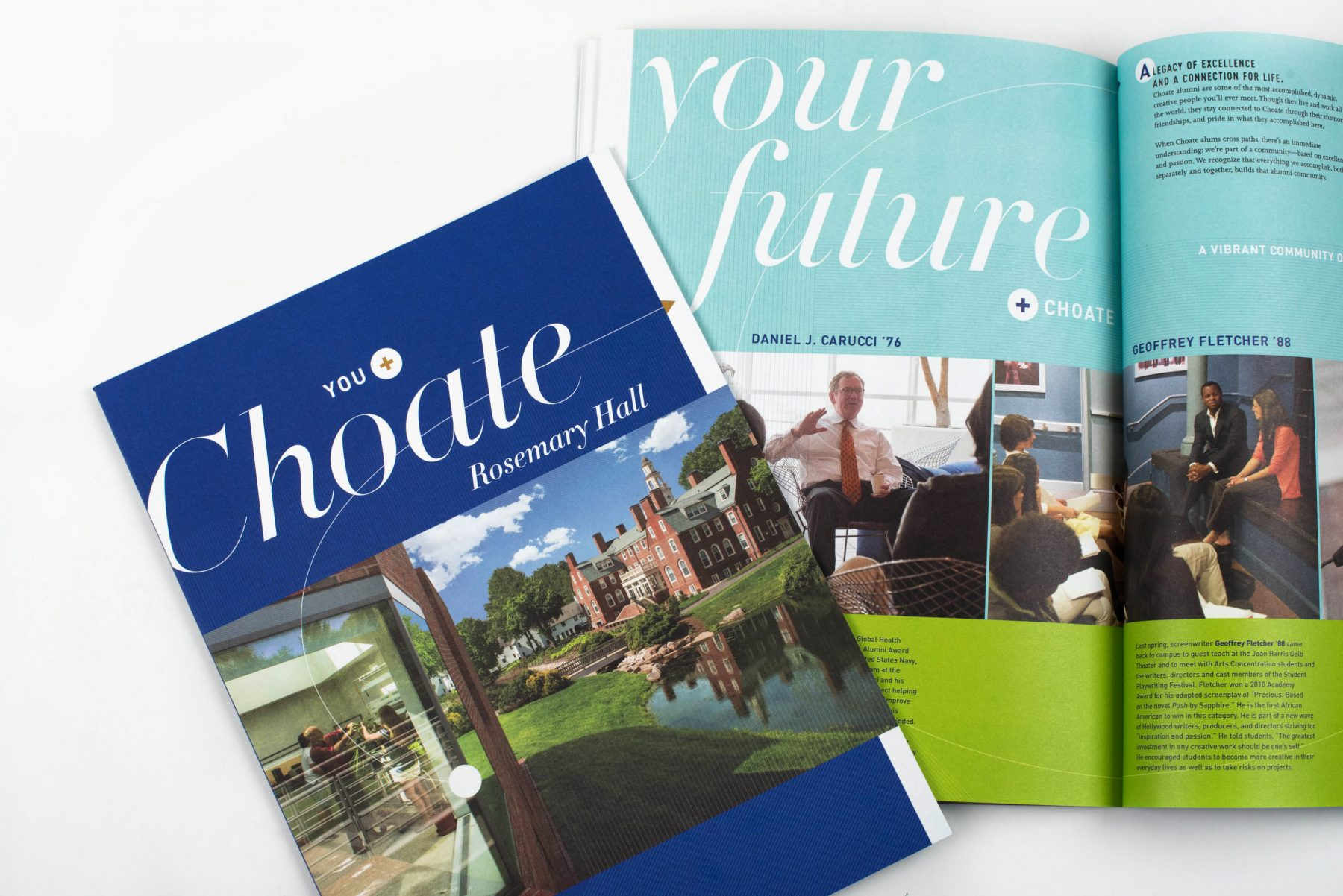 Choate Rosemary Hall viewbook cover and interior spread: Your future