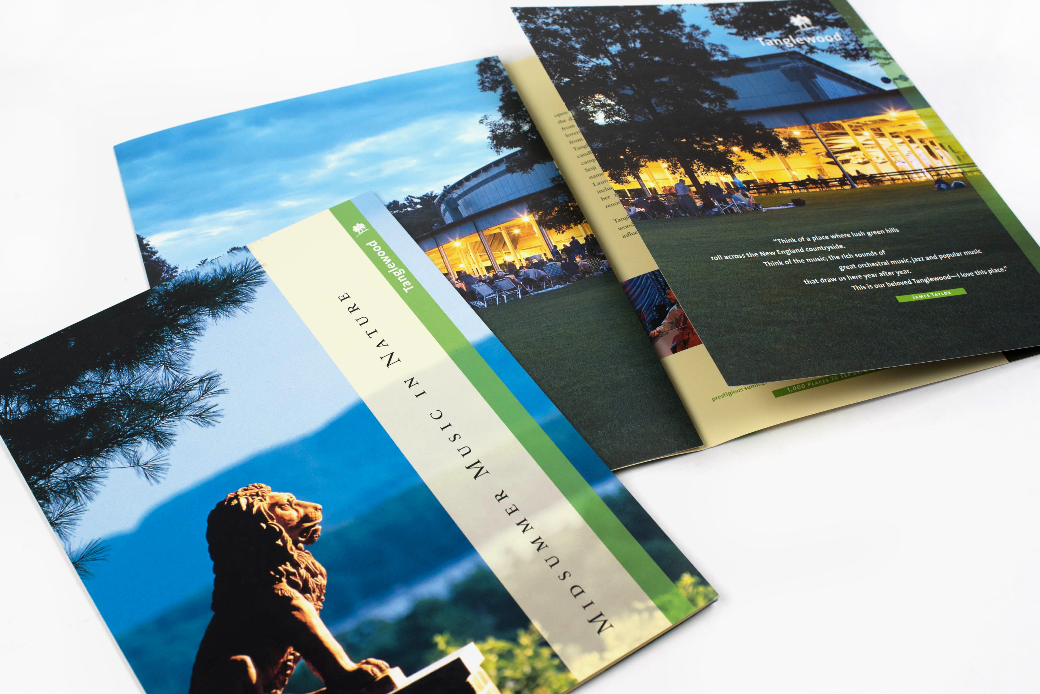 Boston Symphony Orchestra Tanglewood brochure cover and interior spread: Midsummer Music in Nature