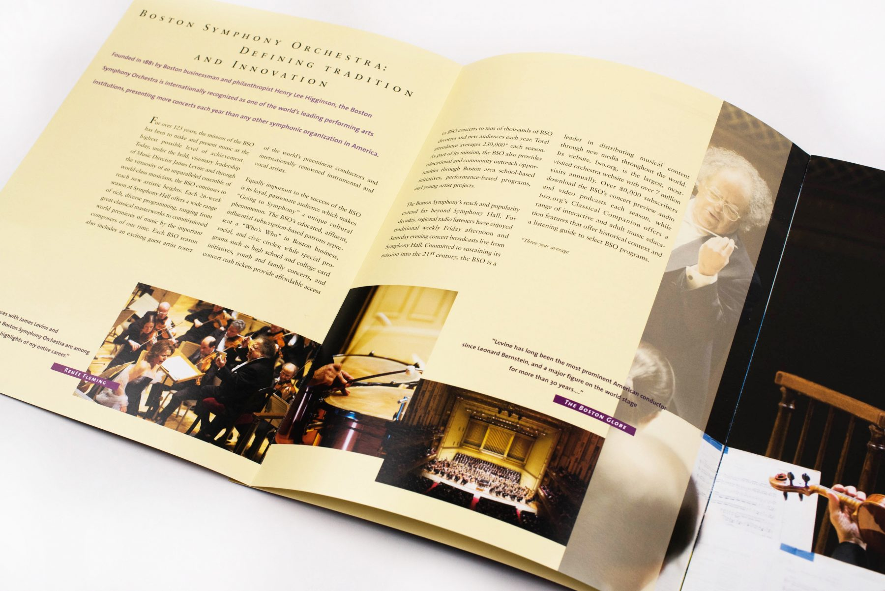 Boston Symphony Orchestra corporate sponsorship brochure: Defining Tradition and Innovation