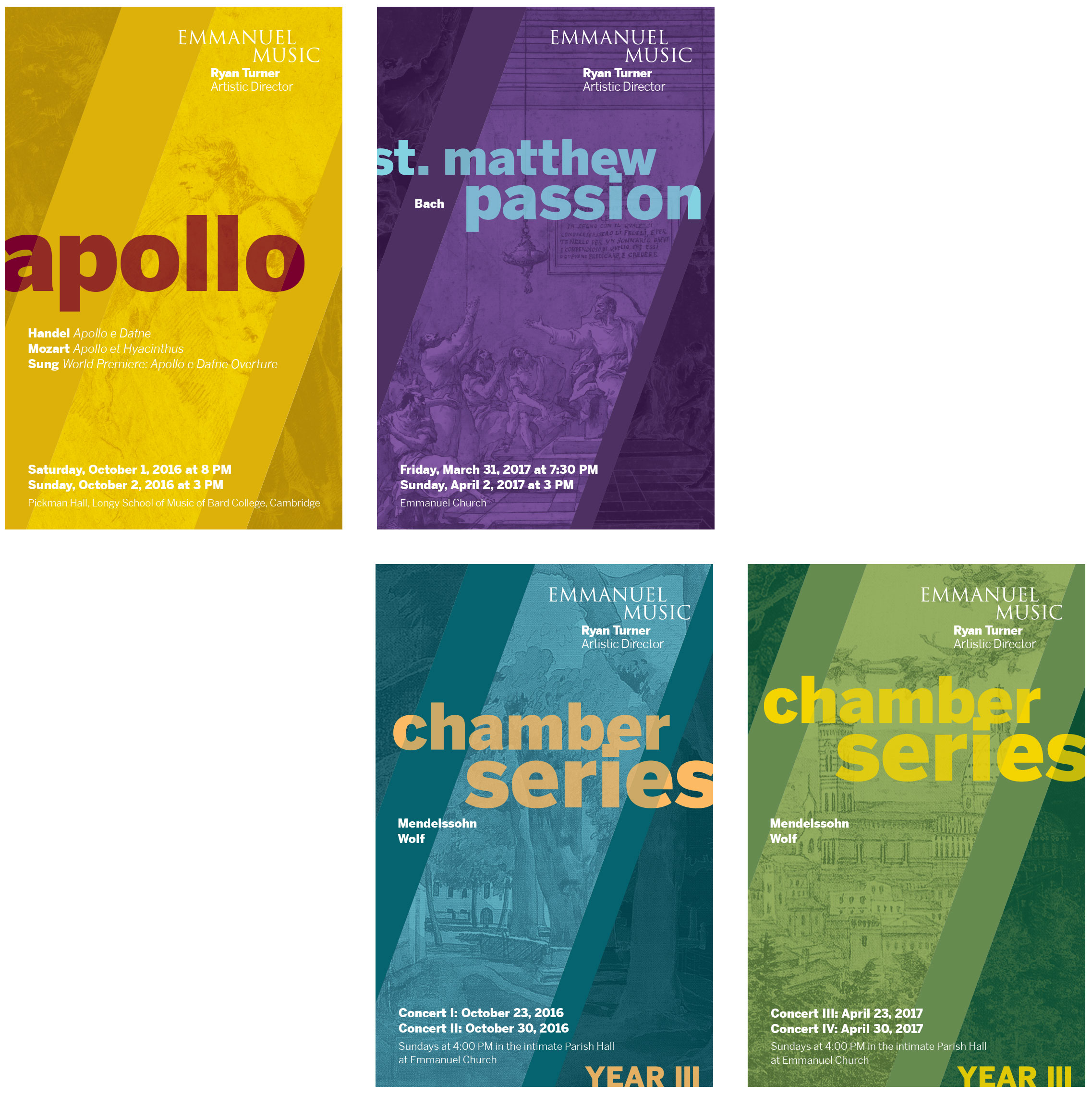 Emmanuel Music postcards: Apollo, St. Matthew Passion, Chamber Series