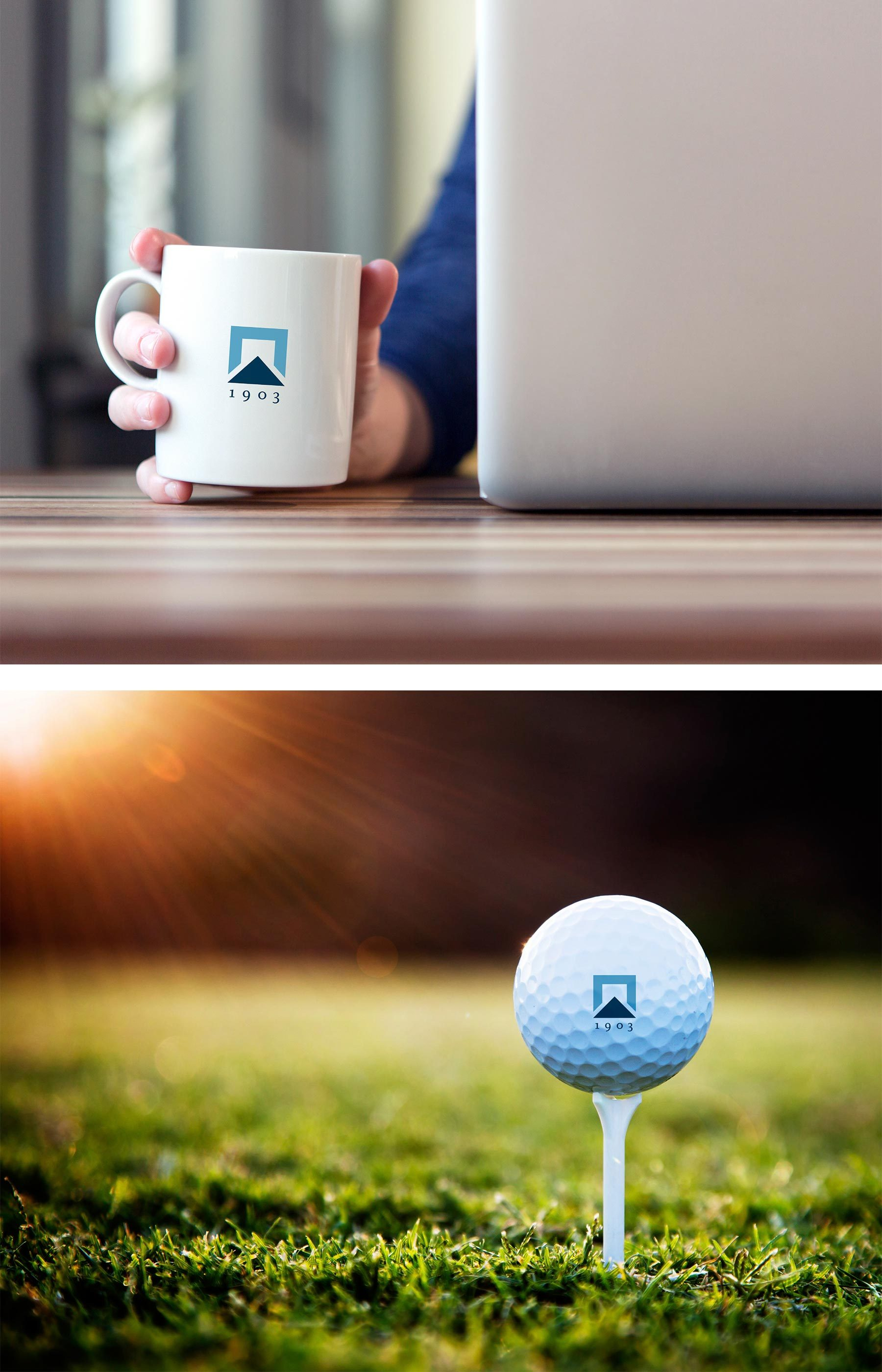 Coffee mug and golf ball with Gordon Brothers logo on them