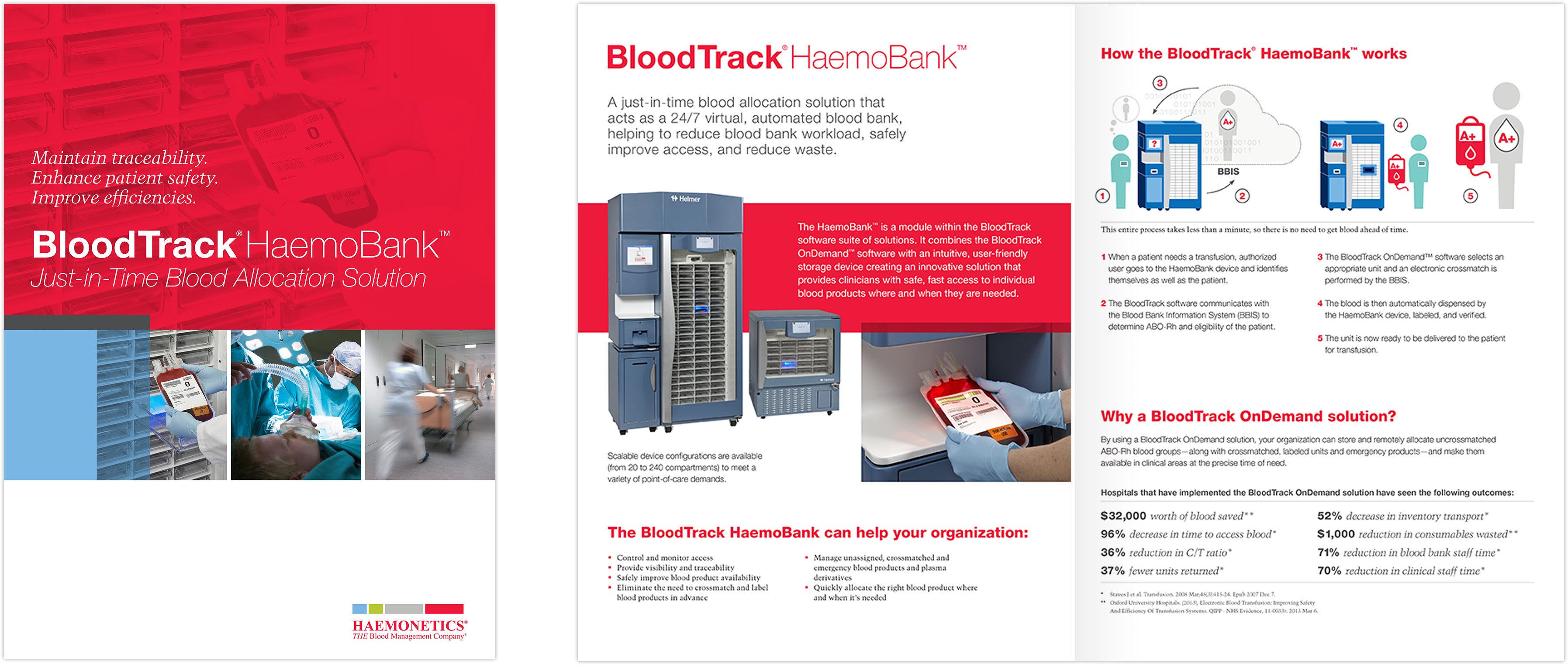 BloodTrack HaemoBank brochure spread