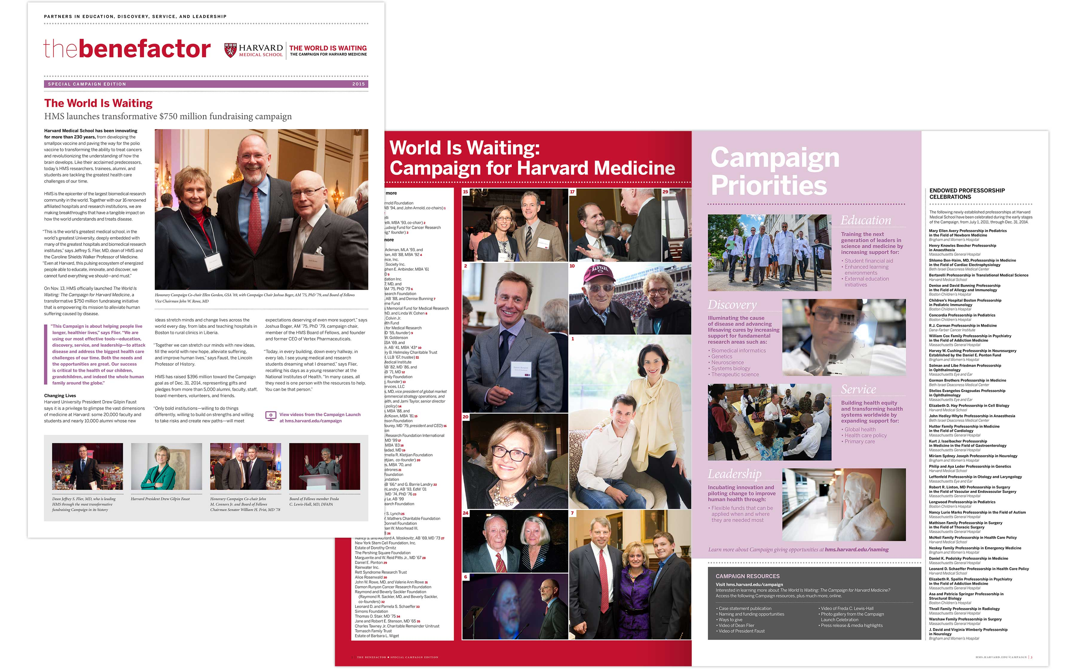 The Benefactor newsletter spread