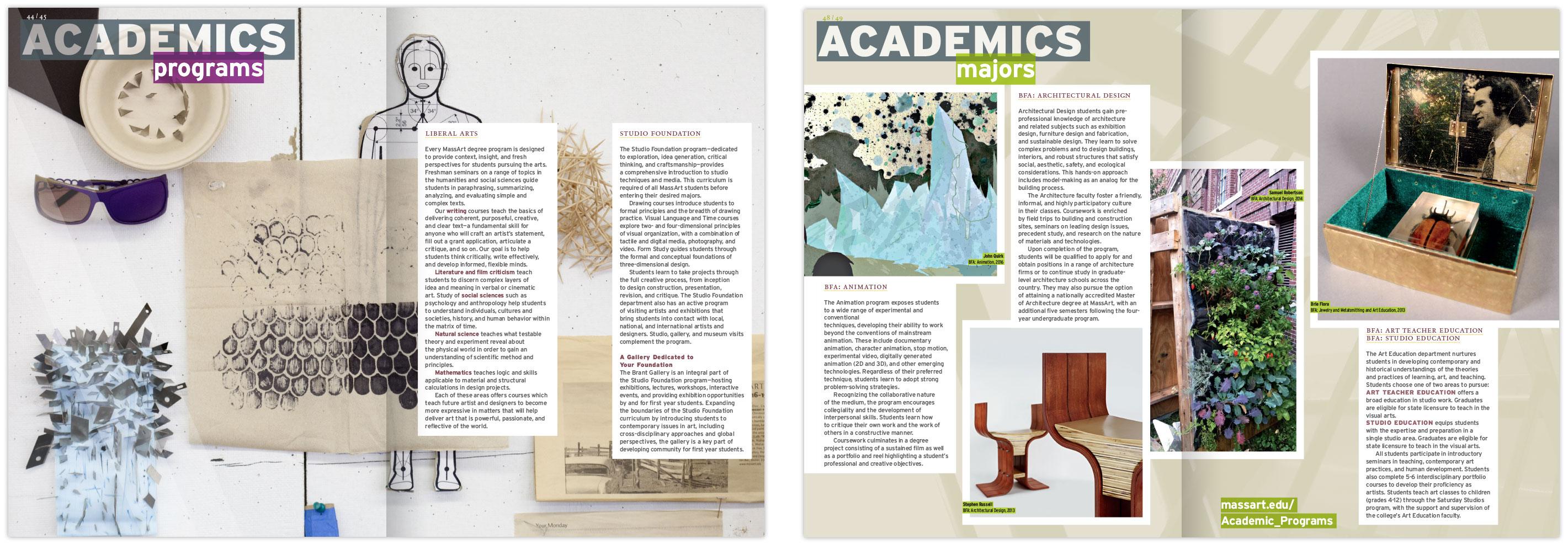 Viewbook academics spread