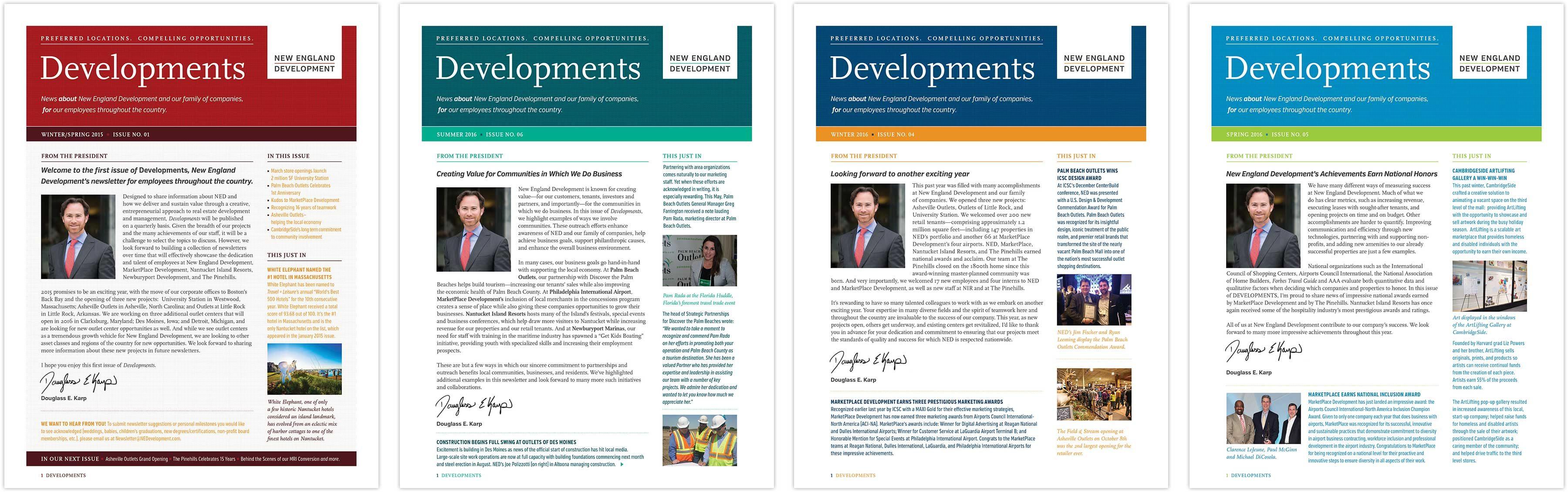 Developments newsletter spread