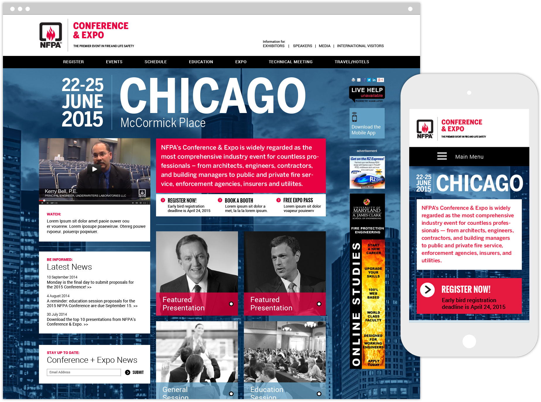 NFPA Chicago Expo homepage on desktop and mobile device
