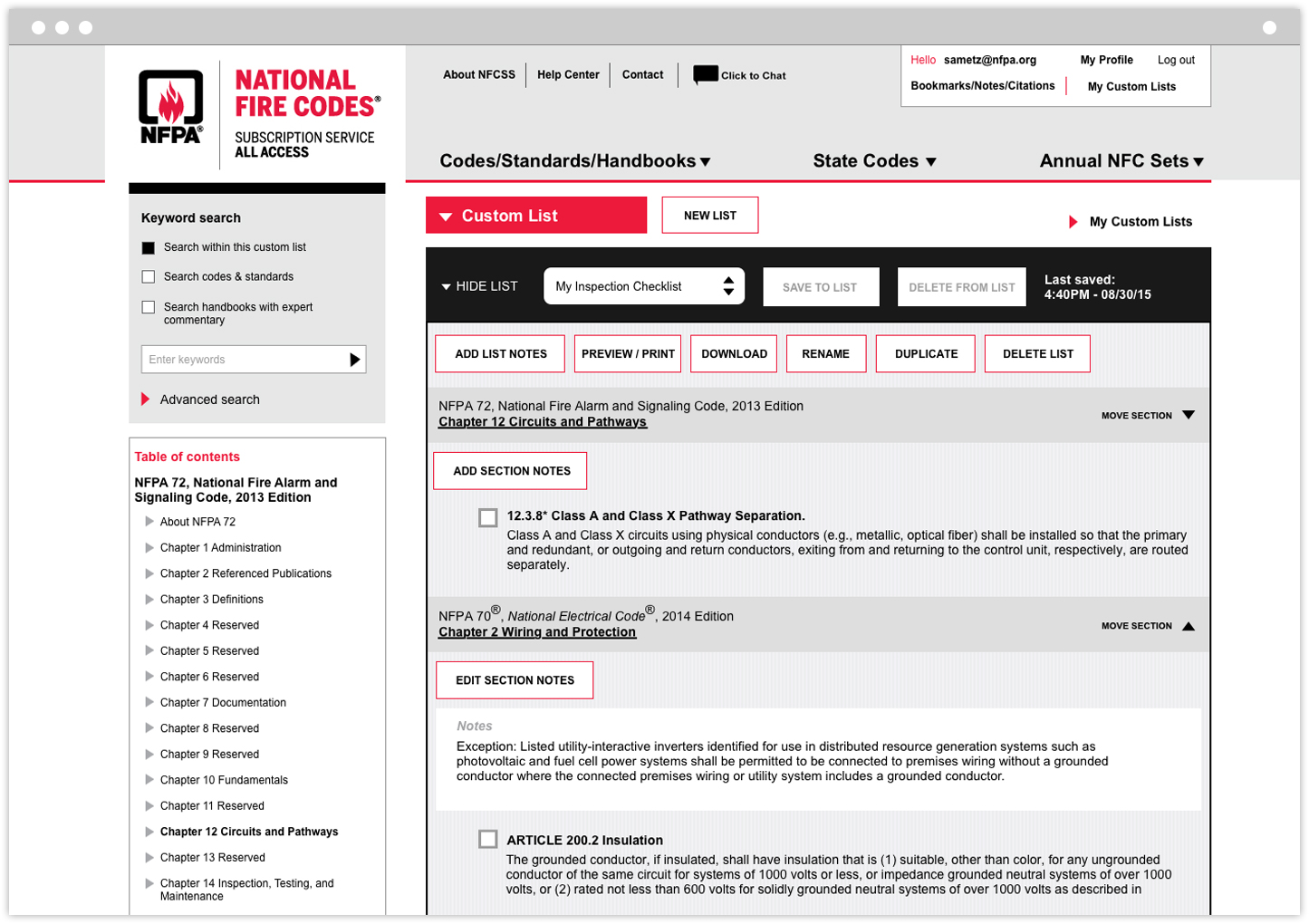 National Fire Codes Subscription Service code builder tool interior page