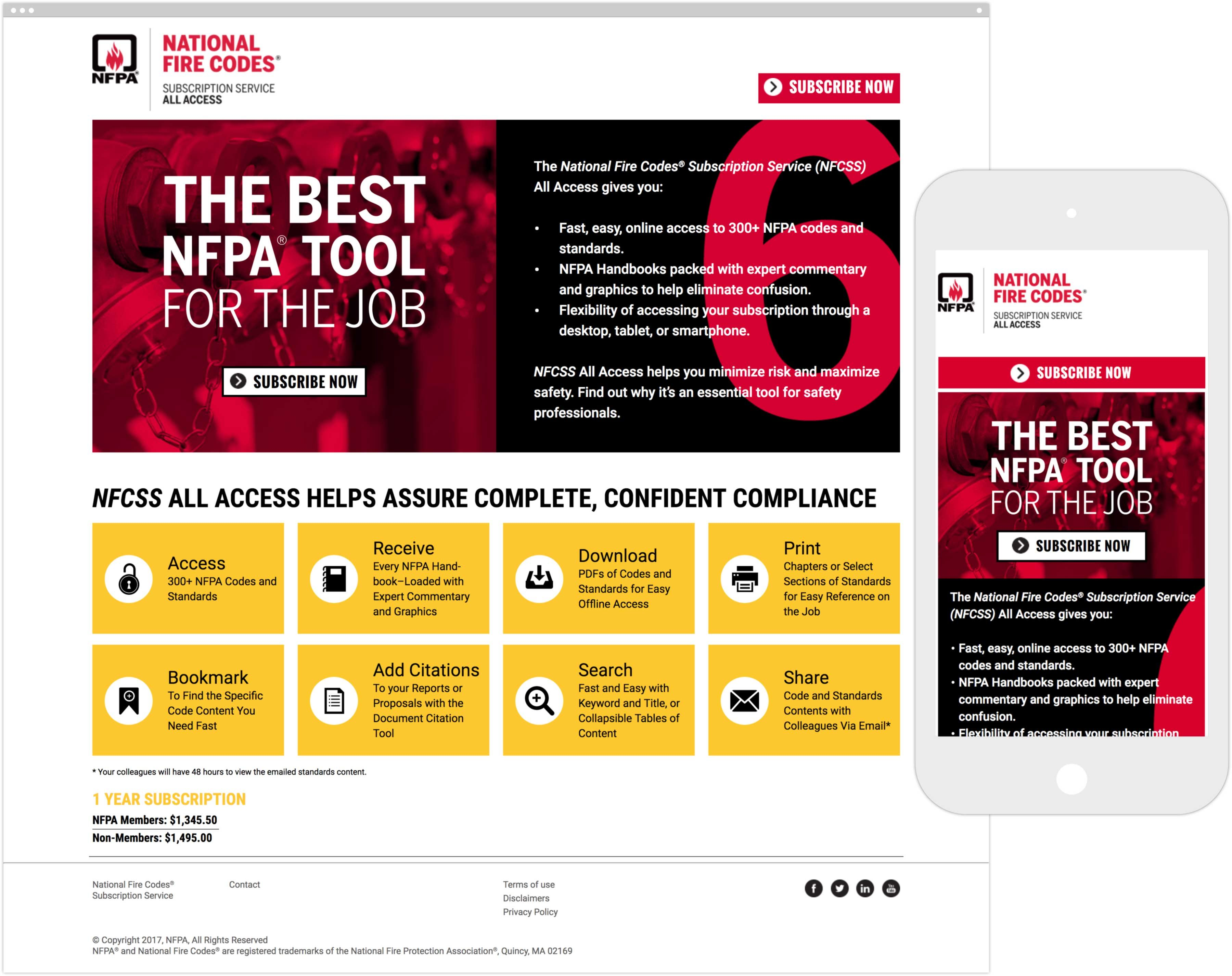 NFPA National Fire Codes Subscription Service homepage on desktop and mobile device