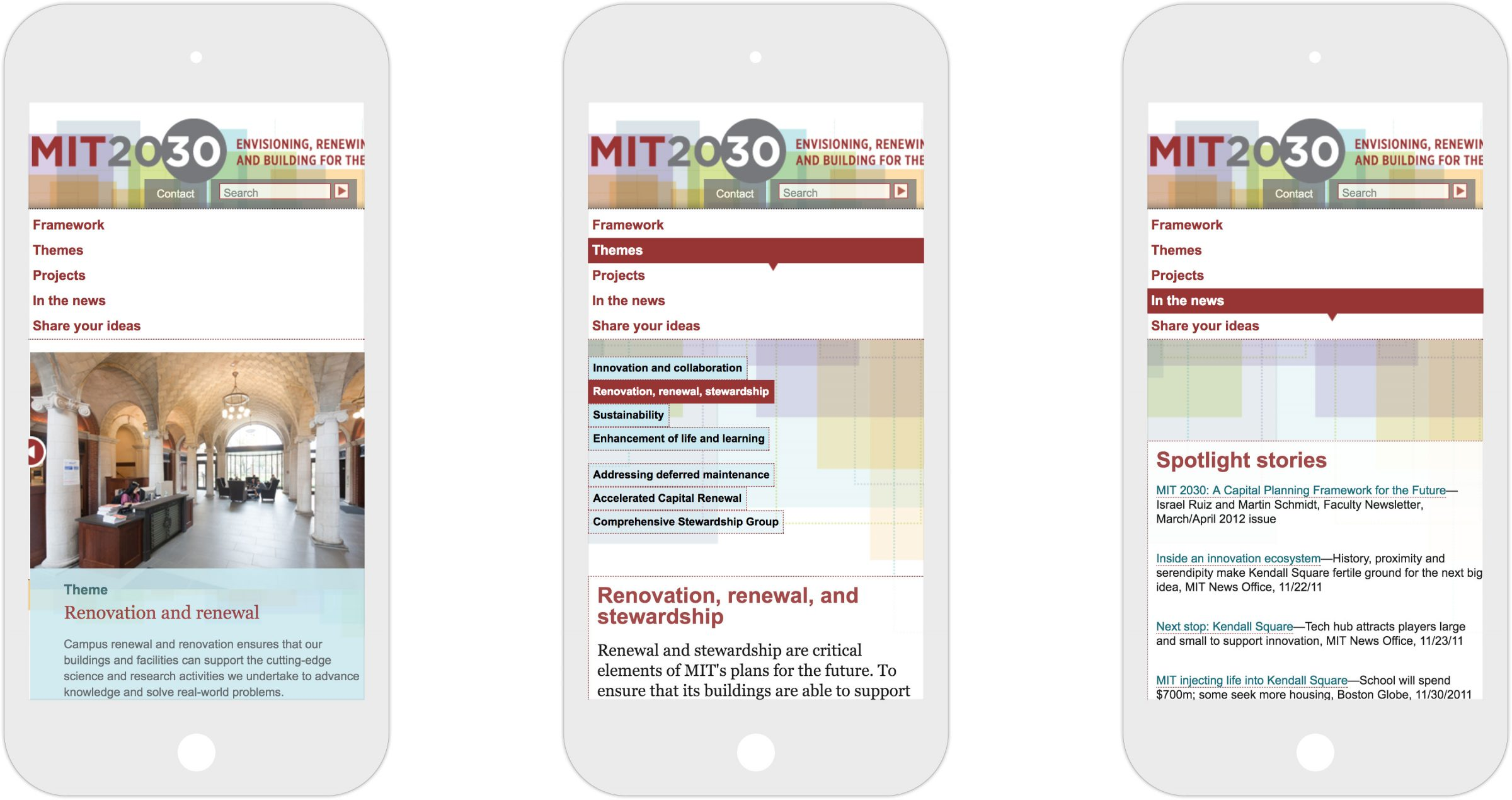 Three views of responsive MIT 2030 website on iPhone