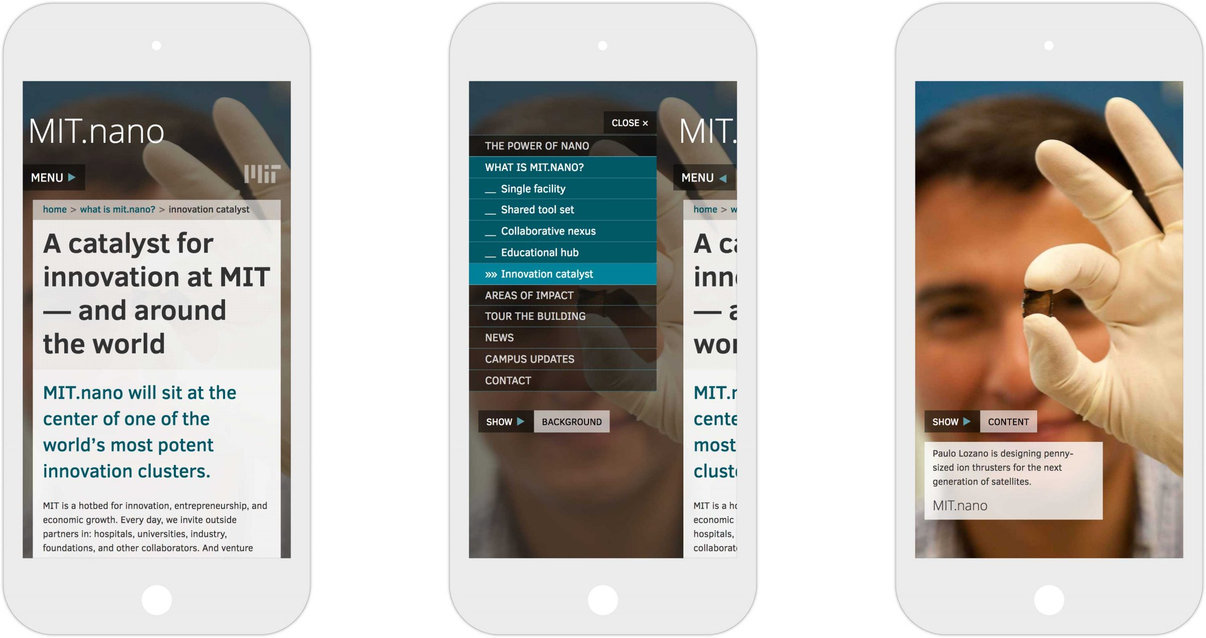 Three views of responsive MIT.nano website on iPhone