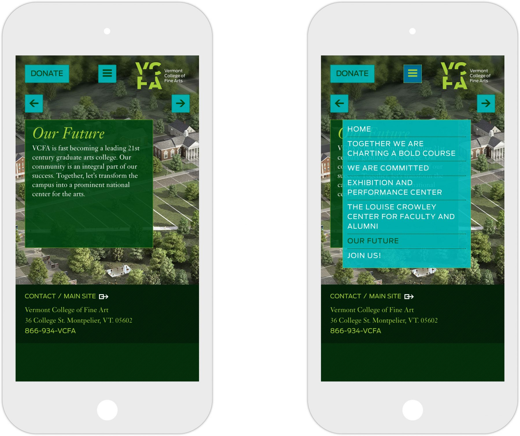 Vermont College of Fine Arts campaign homepage on mobile
