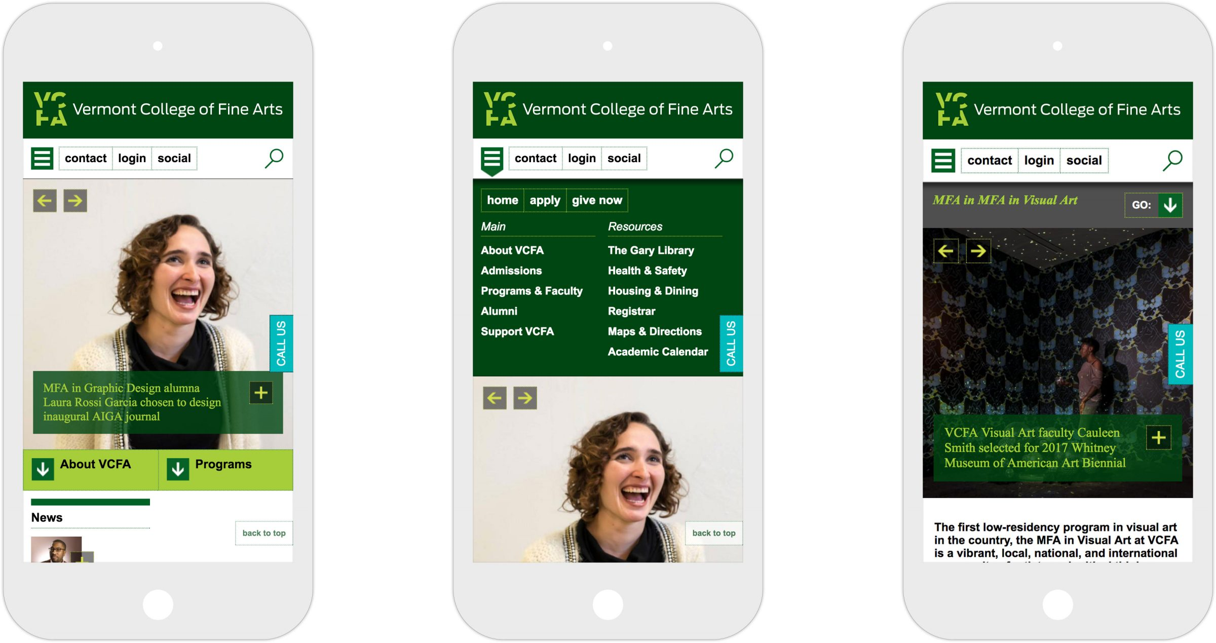 Three views of responsive Vermont College of Fine Arts website on iPhone