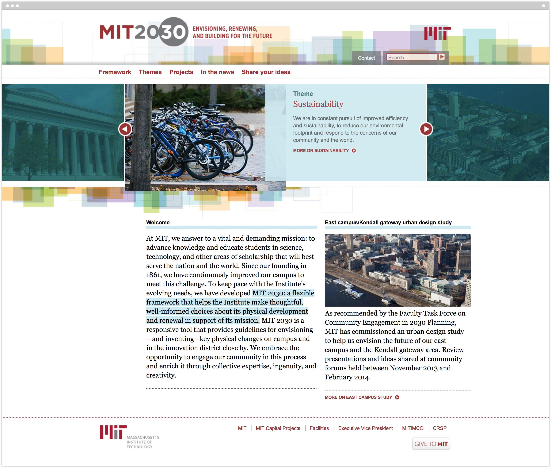 MIT 2030 homepage