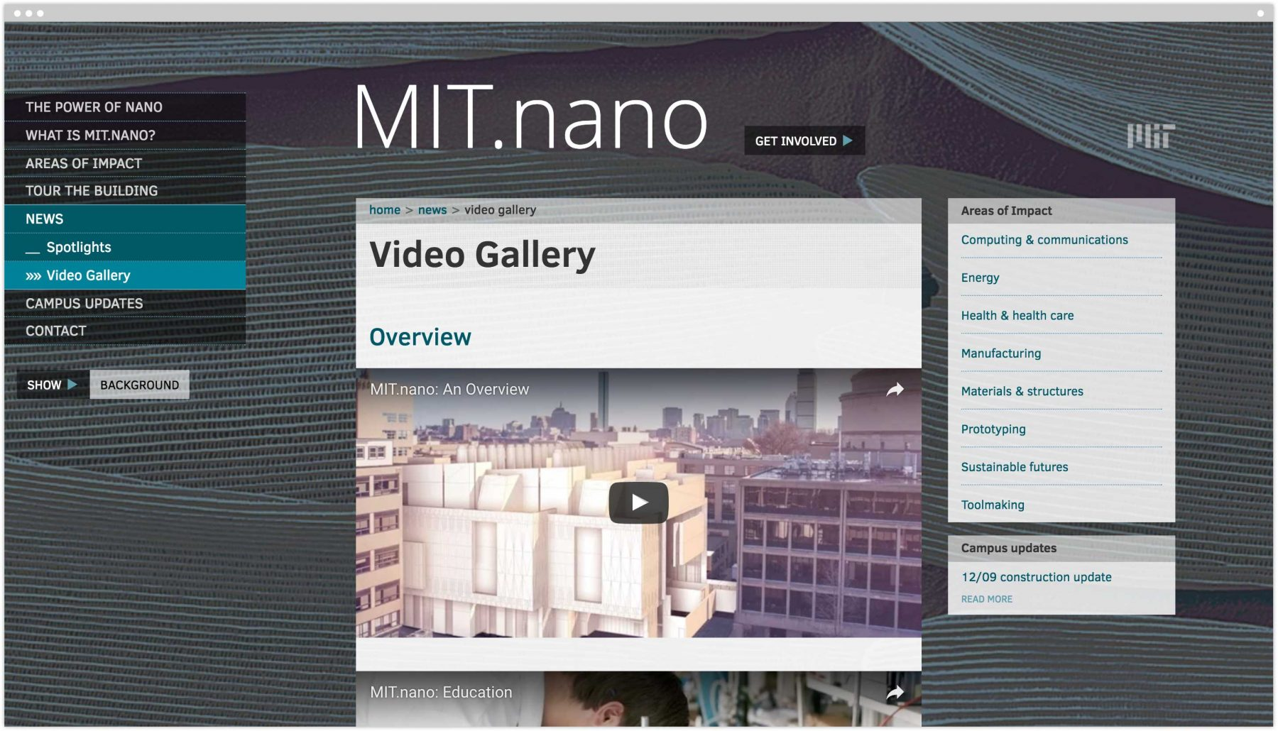 MIT.nano Video Gallery interior page