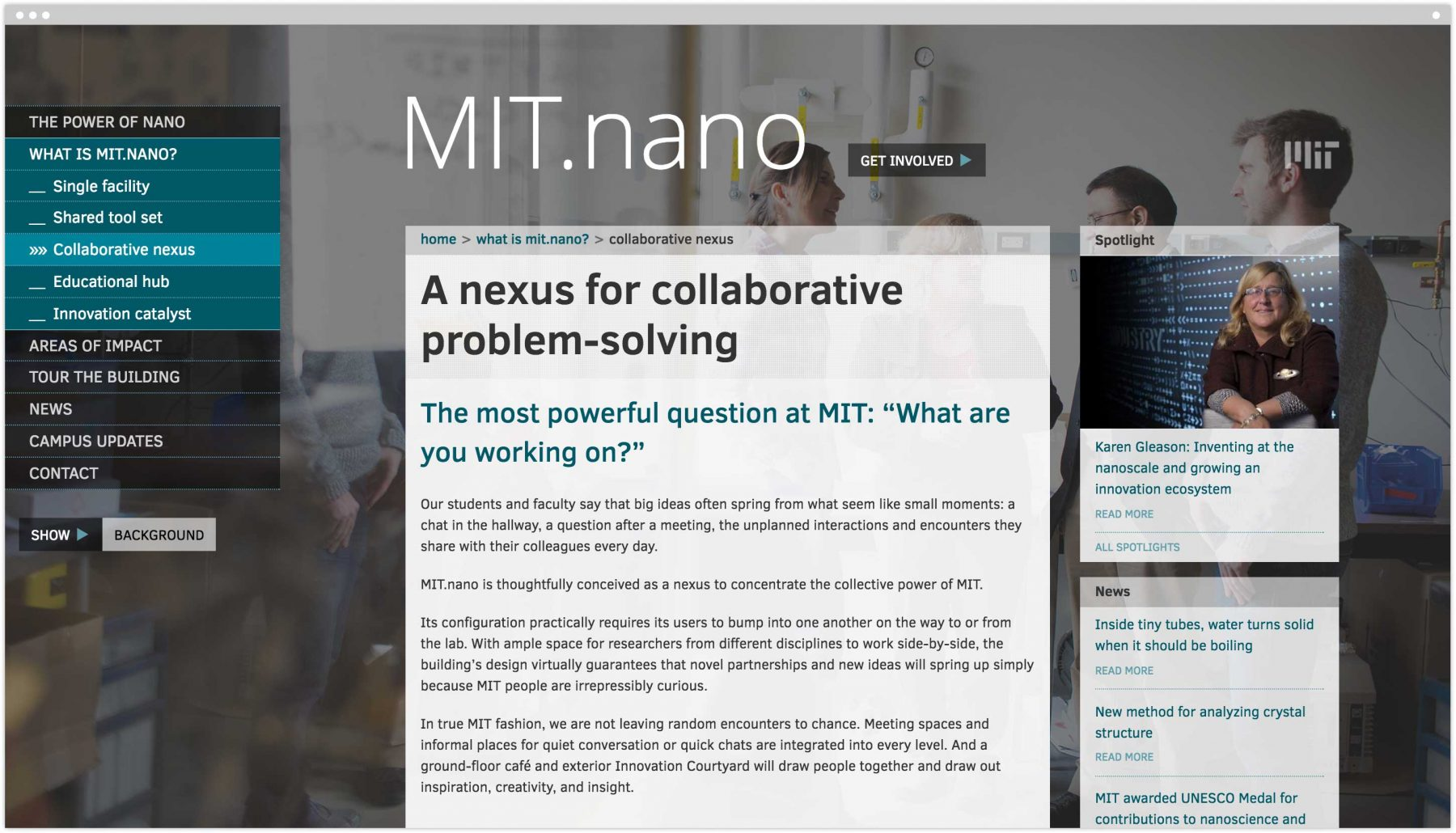 A nexus for collaborative problem-solving interior page