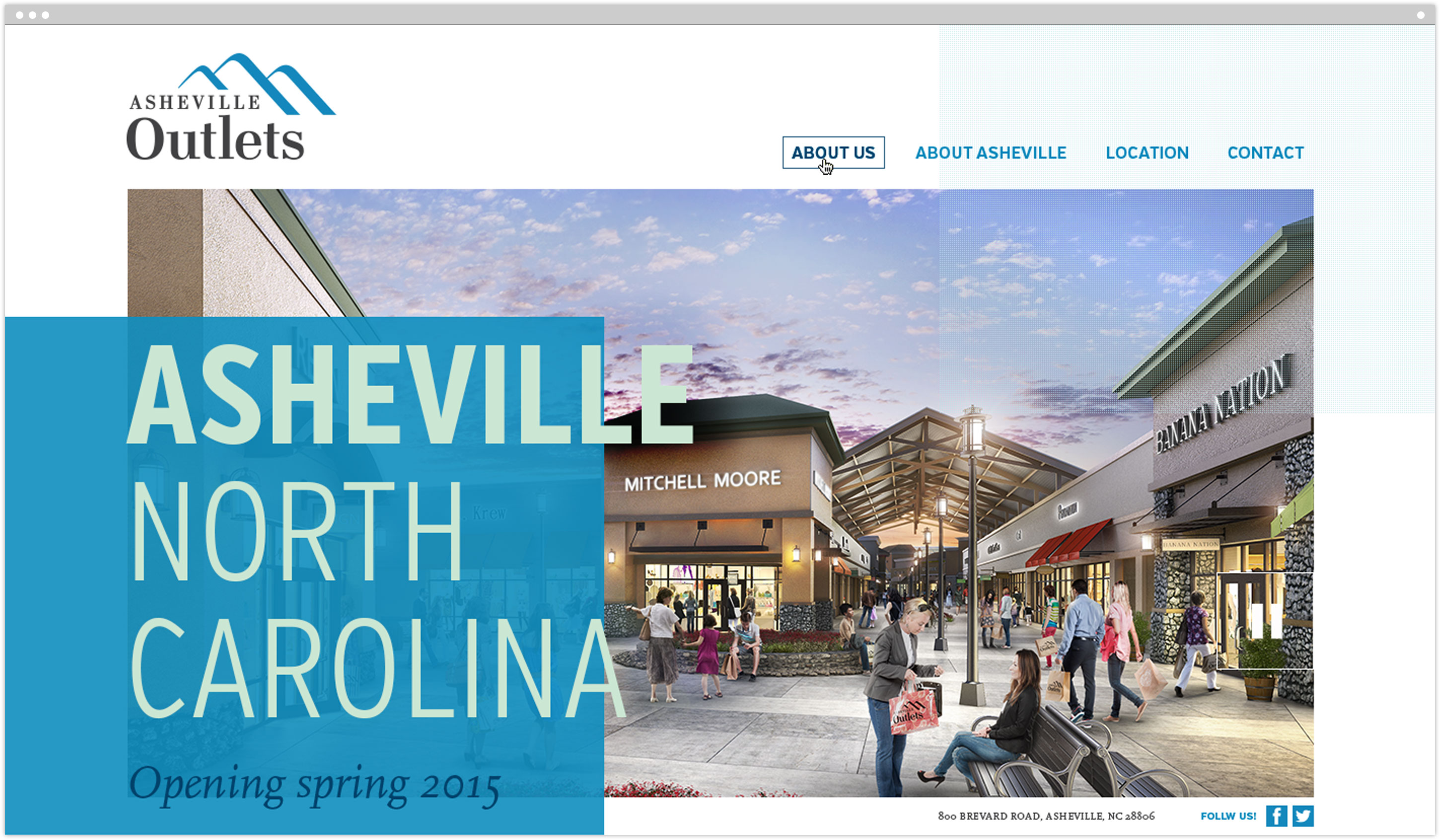 Asheville Outlets website homepage