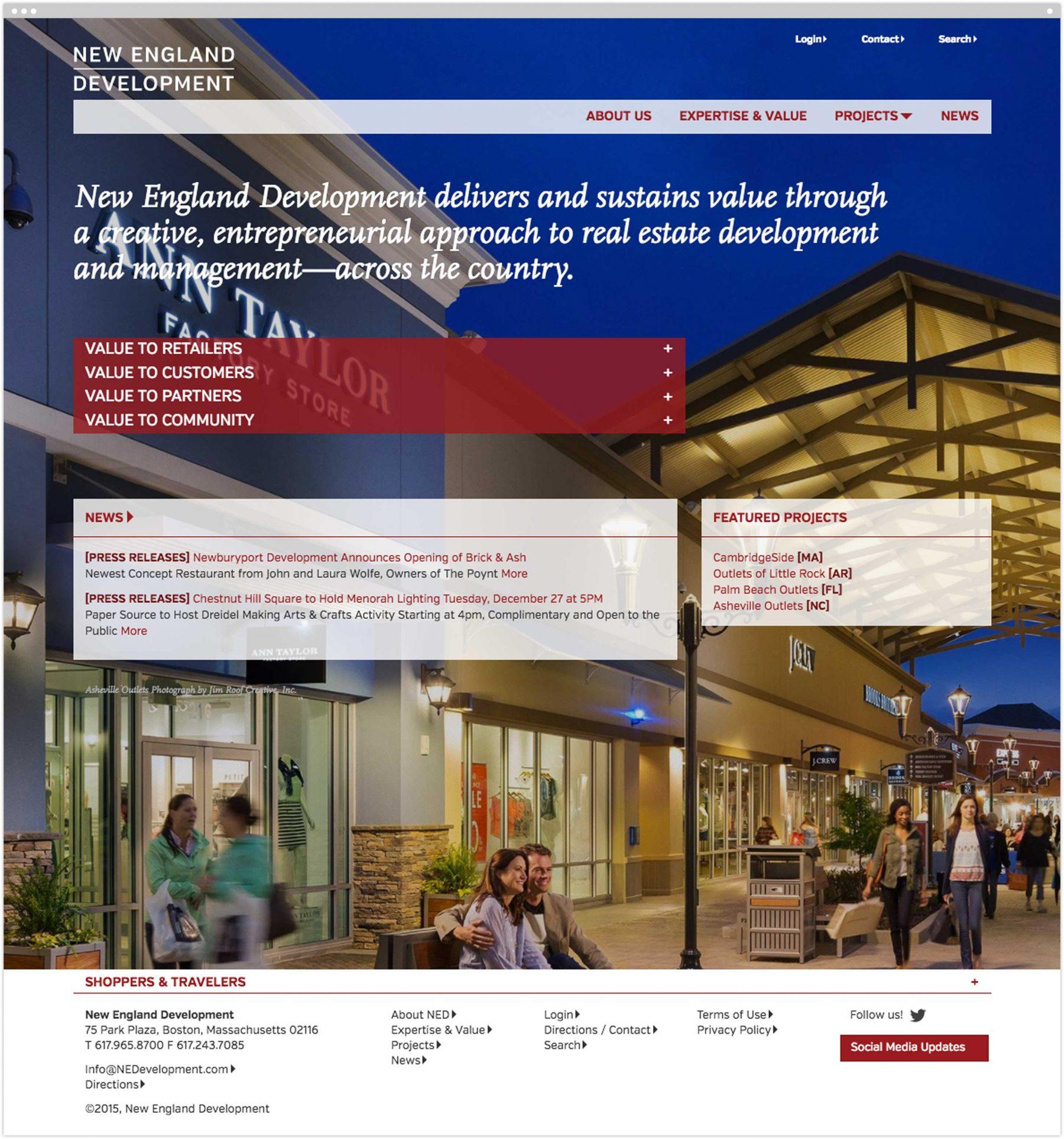 New England Development homepage