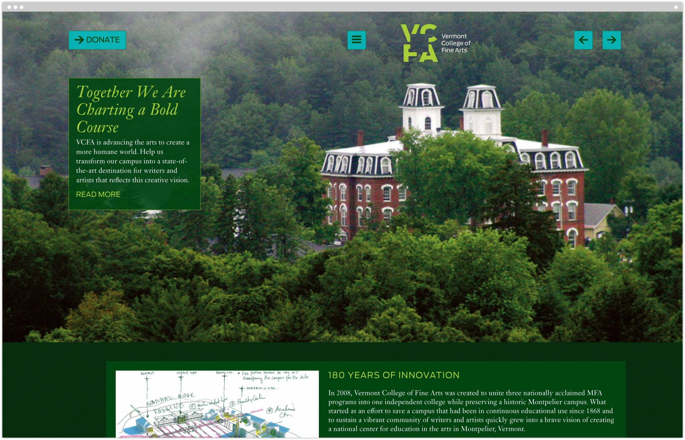 Vermont College of Fine Arts campaign homepage