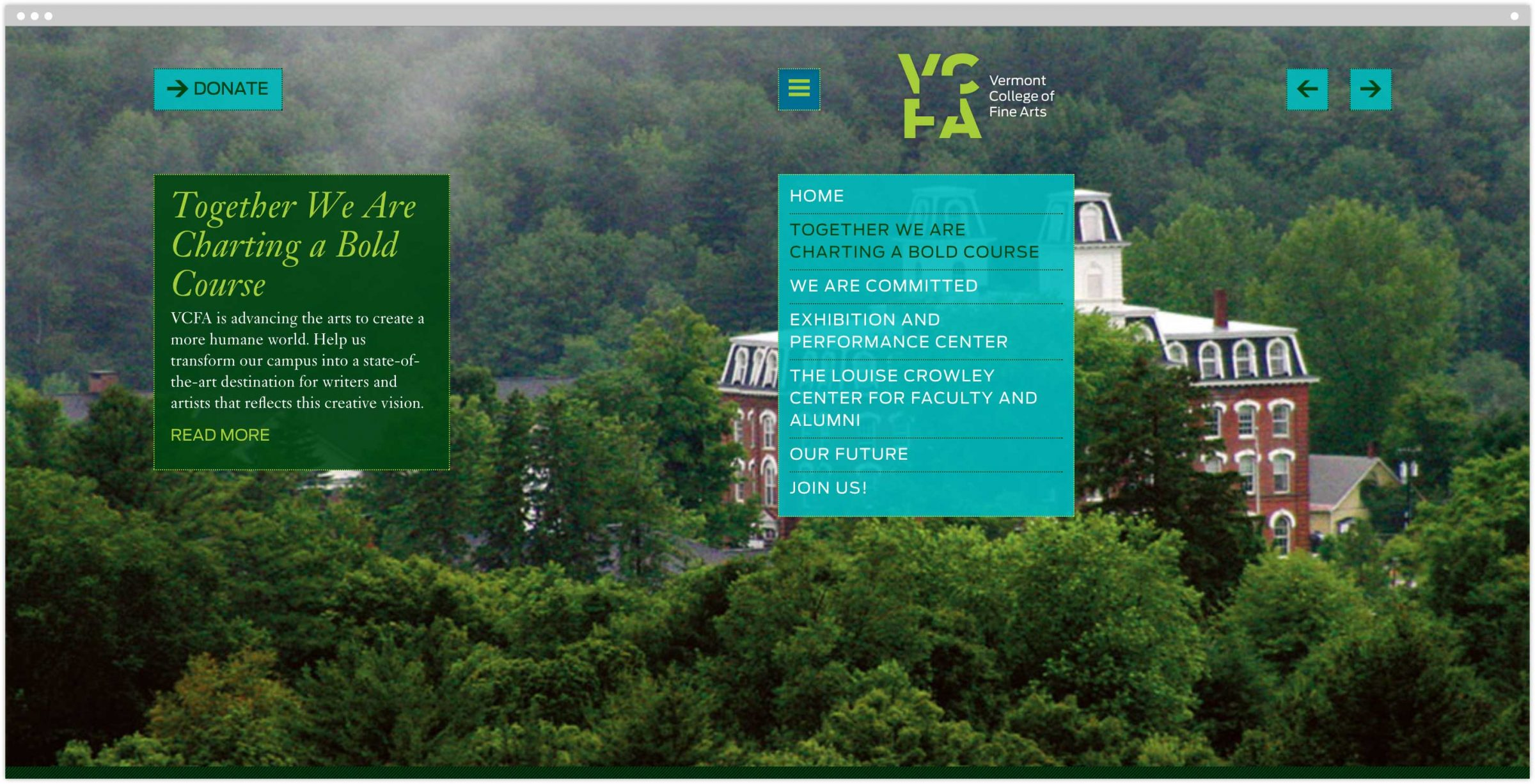 Vermont College of Fine Arts campaign homepage with navigation exposed