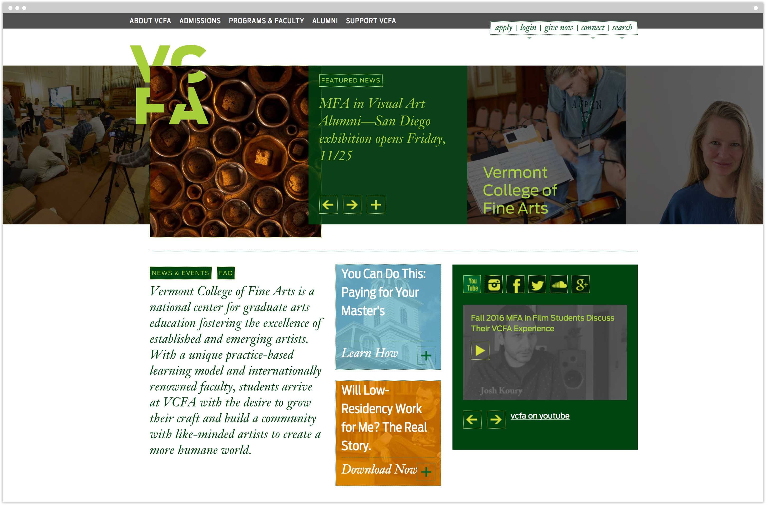 Vermont College of Fine Arts homepage